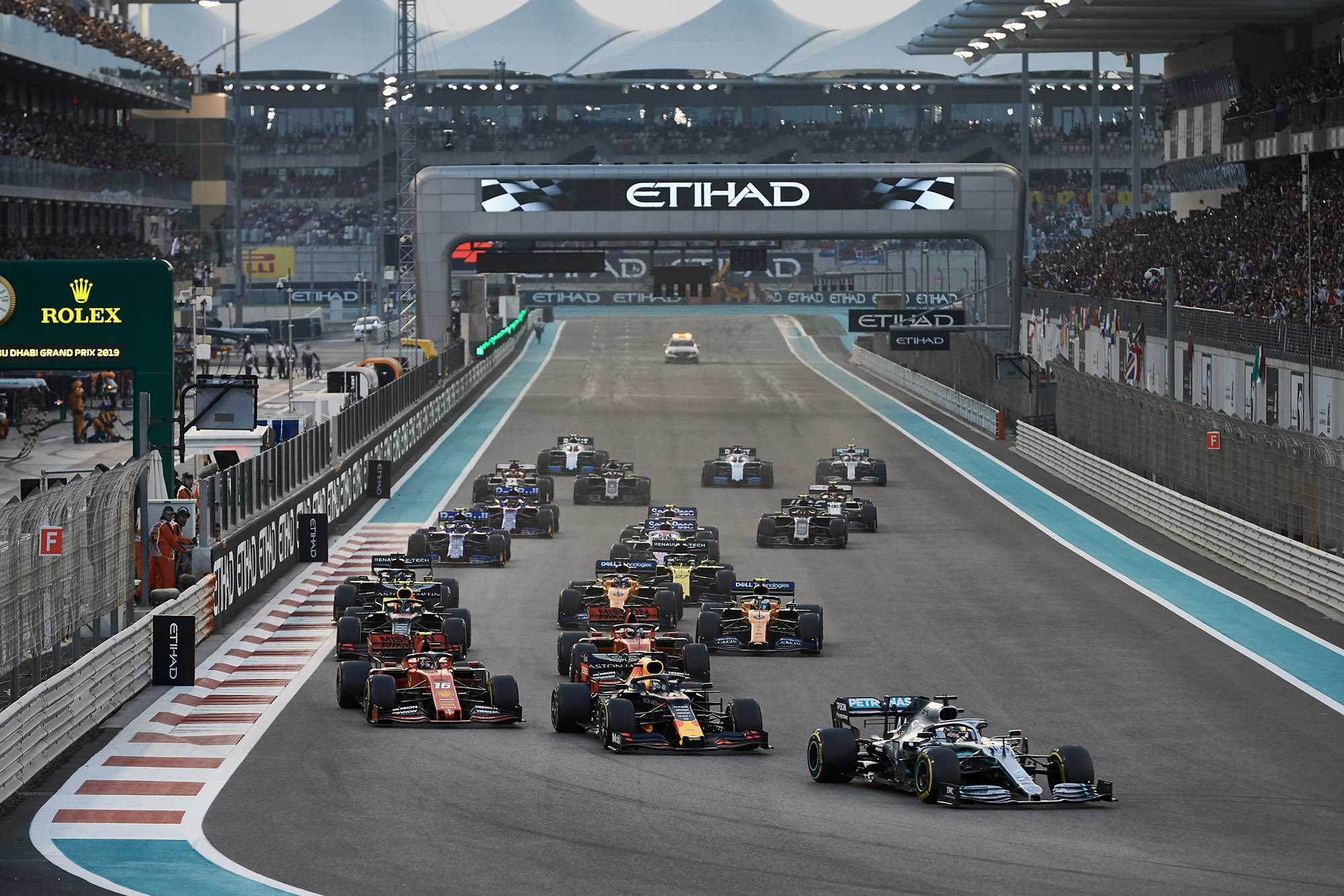 Lewis Hamilton leads at the start of the 2019 Abu Dhabi Grand Prix