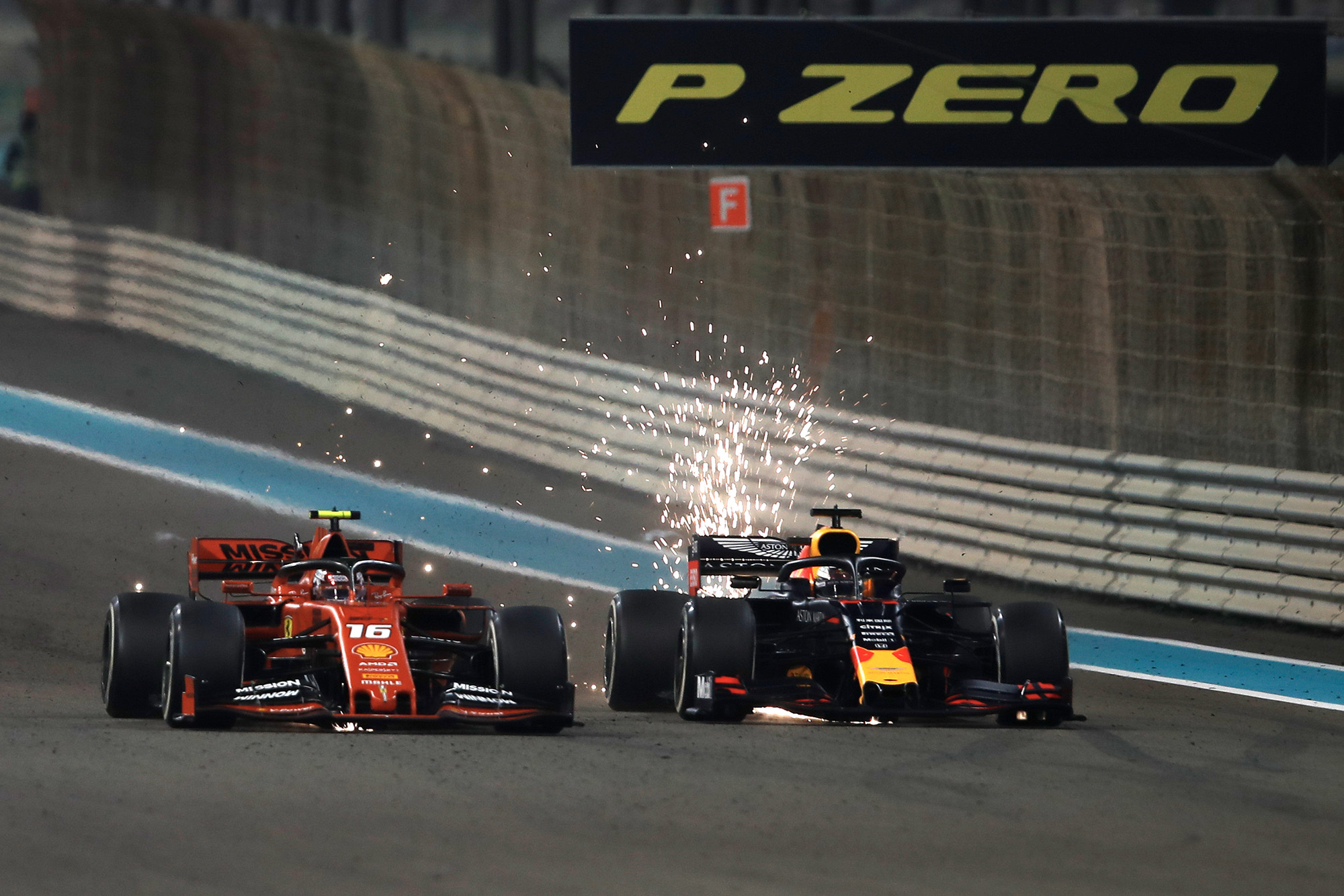 Max Verstappen overtakes Charles Leclerc at the 2019 F1 Abu Dhabi Grand Prix