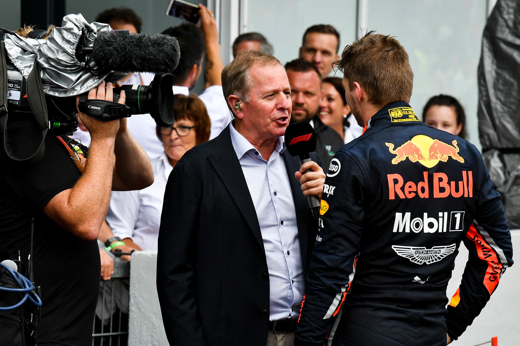 Martin Brundle interviews Max Verstappen after the 2019 Brazilian Grand Prix