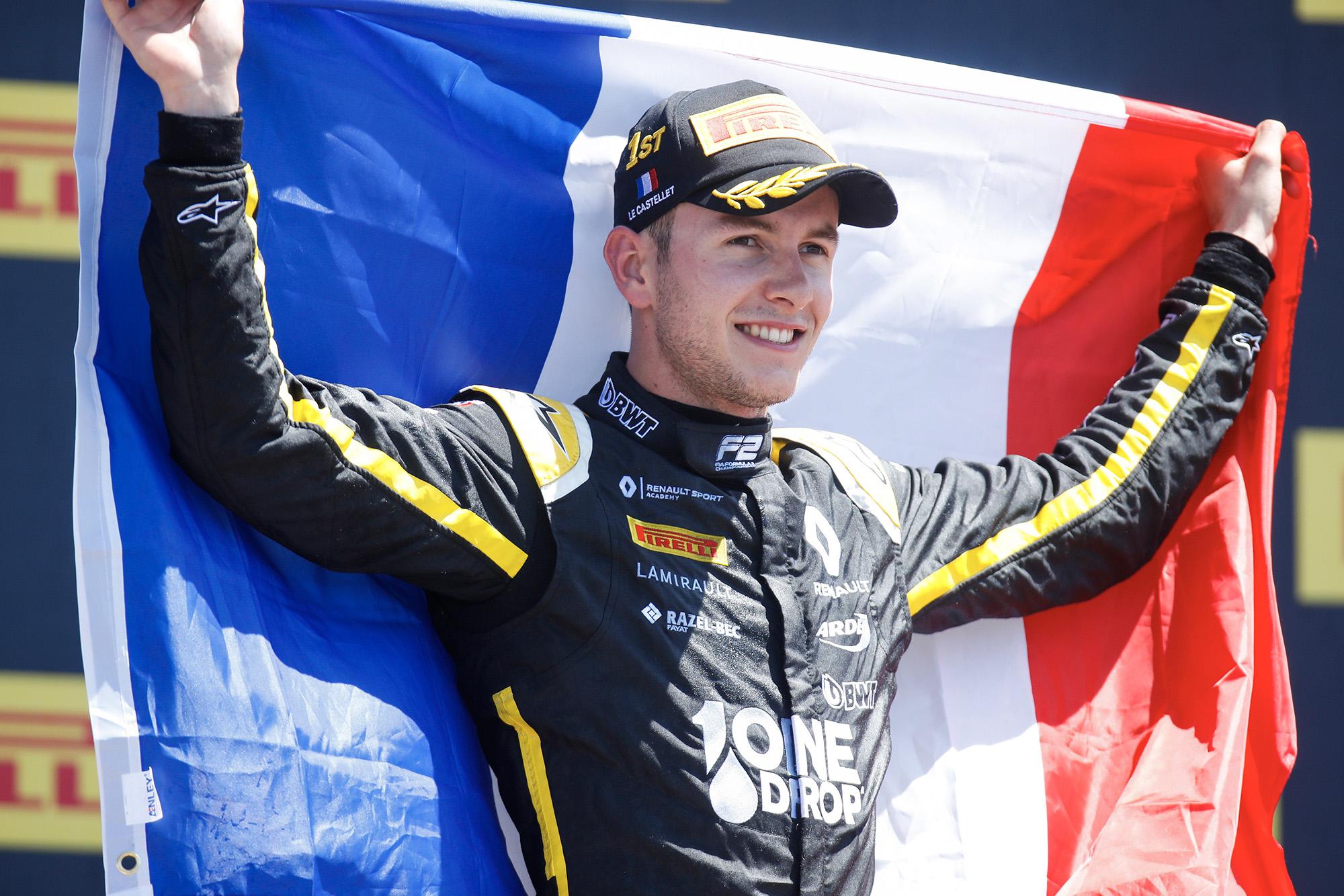 Anthoine Hubert celebrates winning at Paul Ricard in the 2019 Formula 2 season