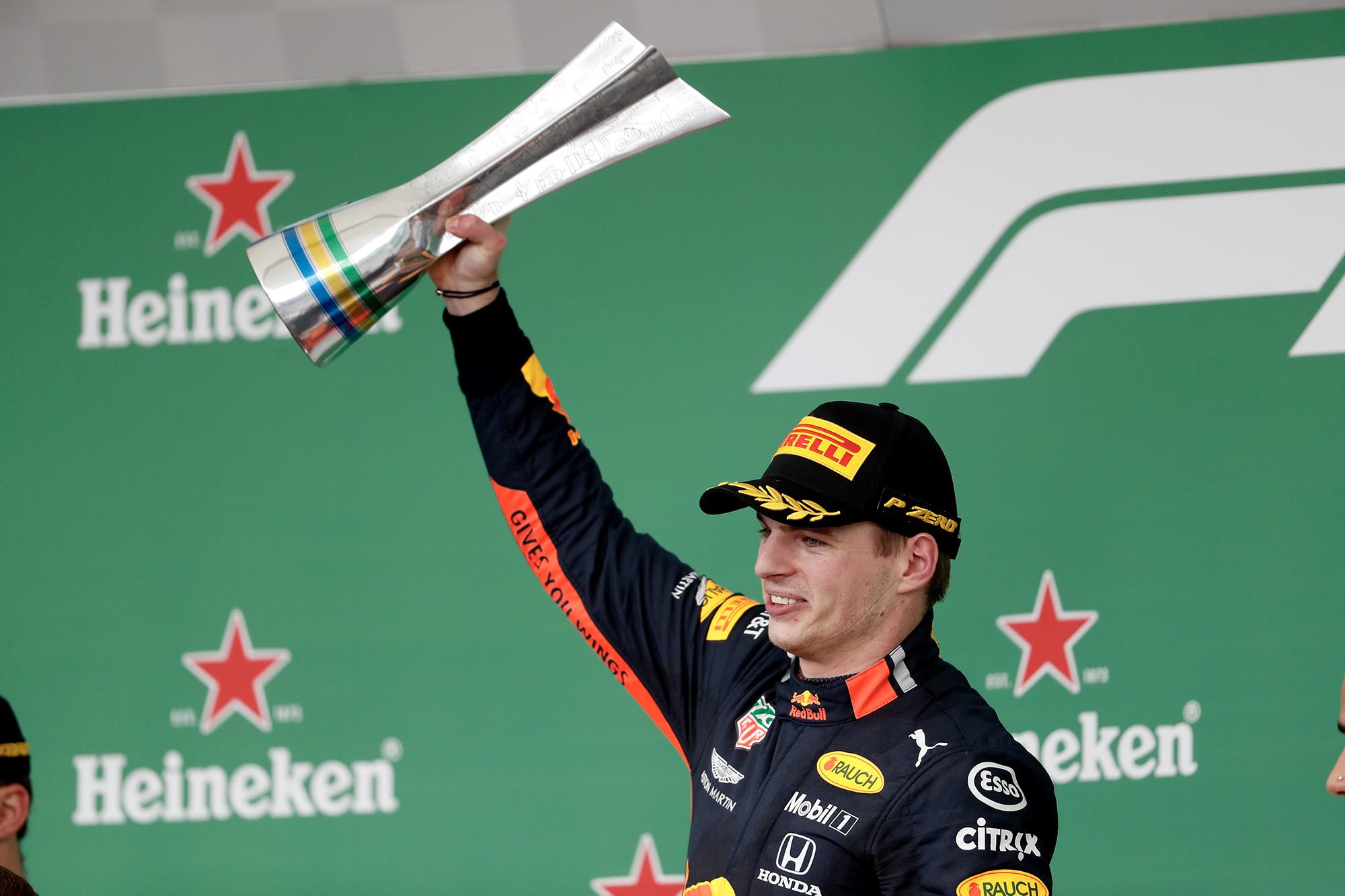 Max Verstappen celebrates victory at the 2019 Brazilian Grand Prix