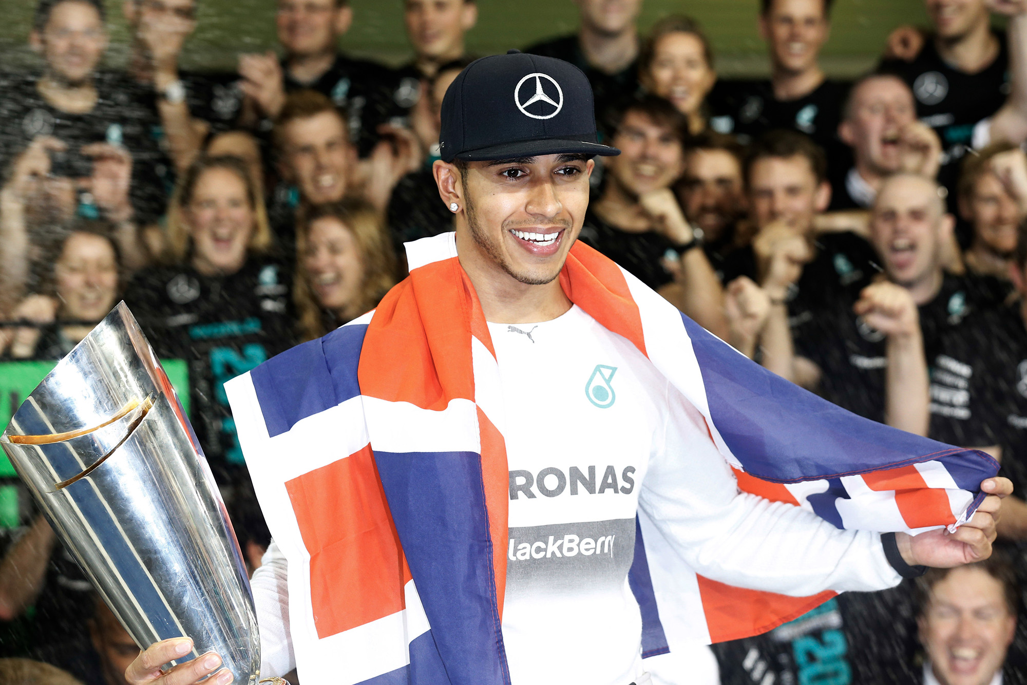Lewis Hamilton celebrates winning his second F1 world championship in 2014