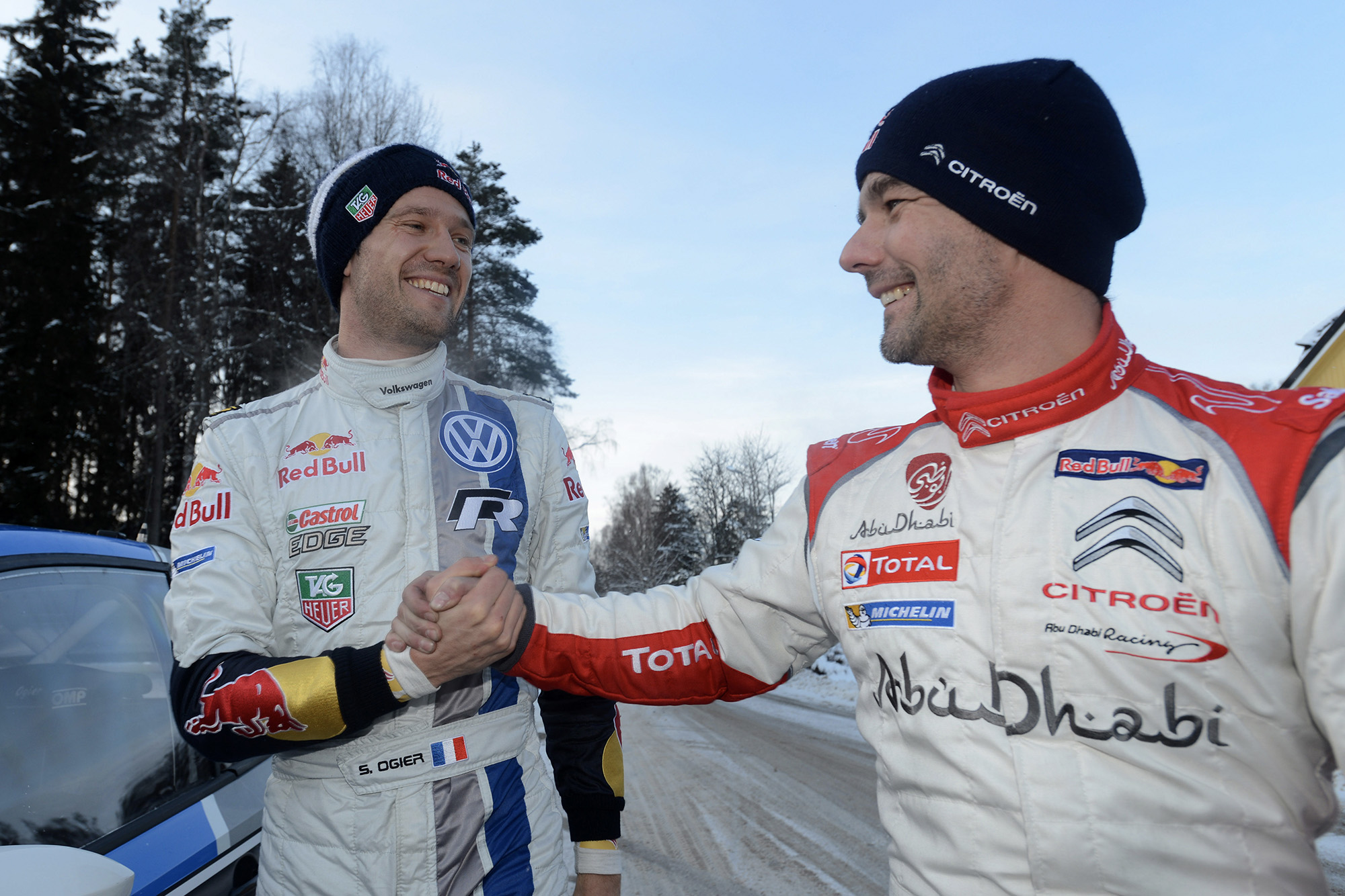 Sebastien Loeb and Sebastien Ogier shake hands