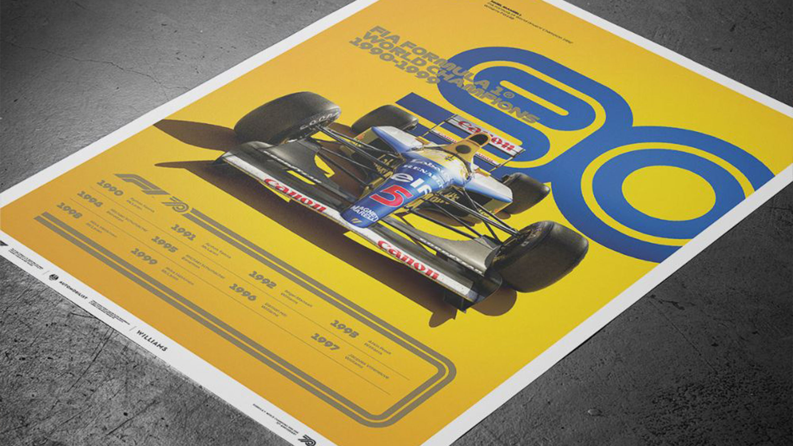F1 decades 90s poster with 1992 Williams FW14B