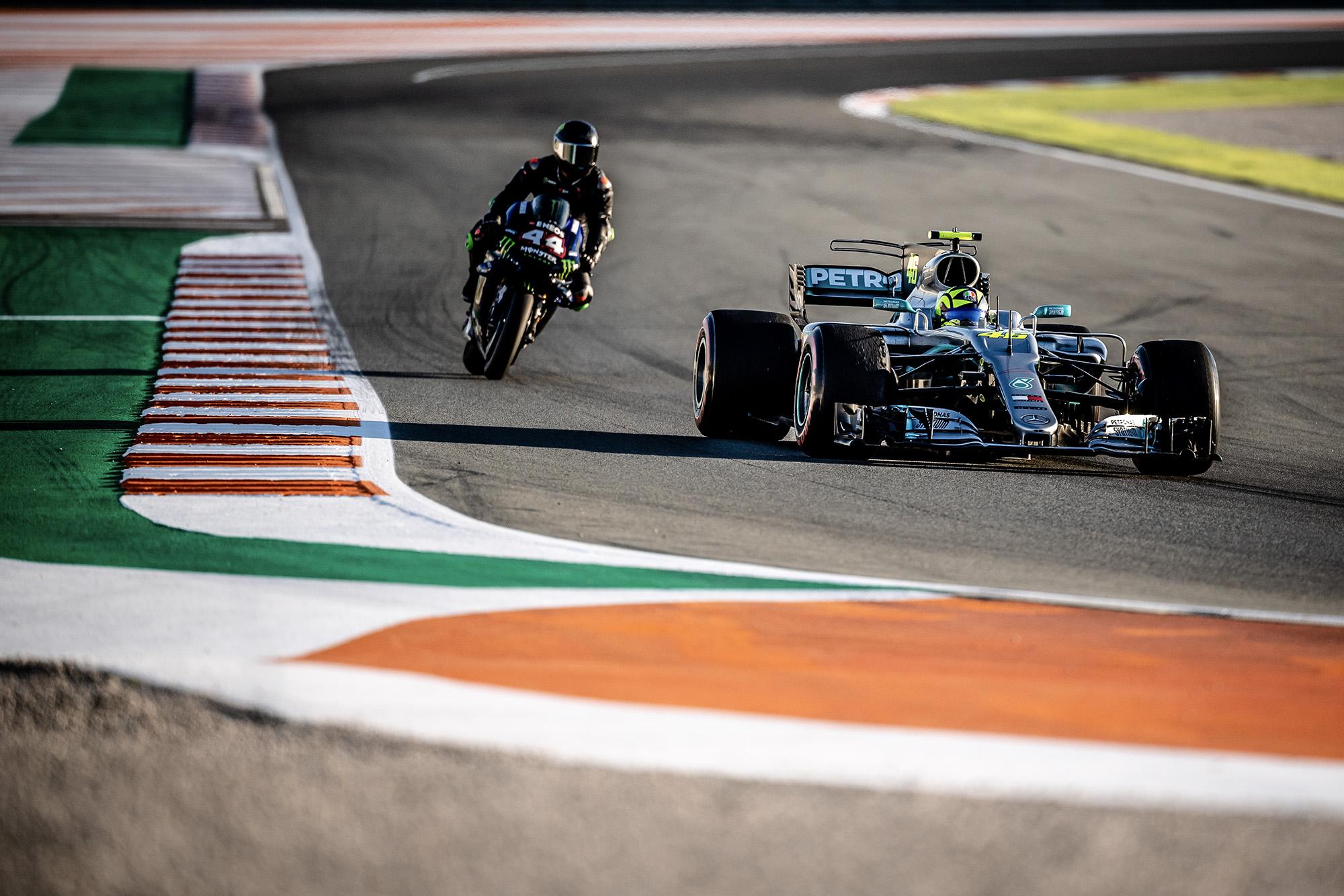 Video: Hamilton and Rossi swap rides in Valencia
