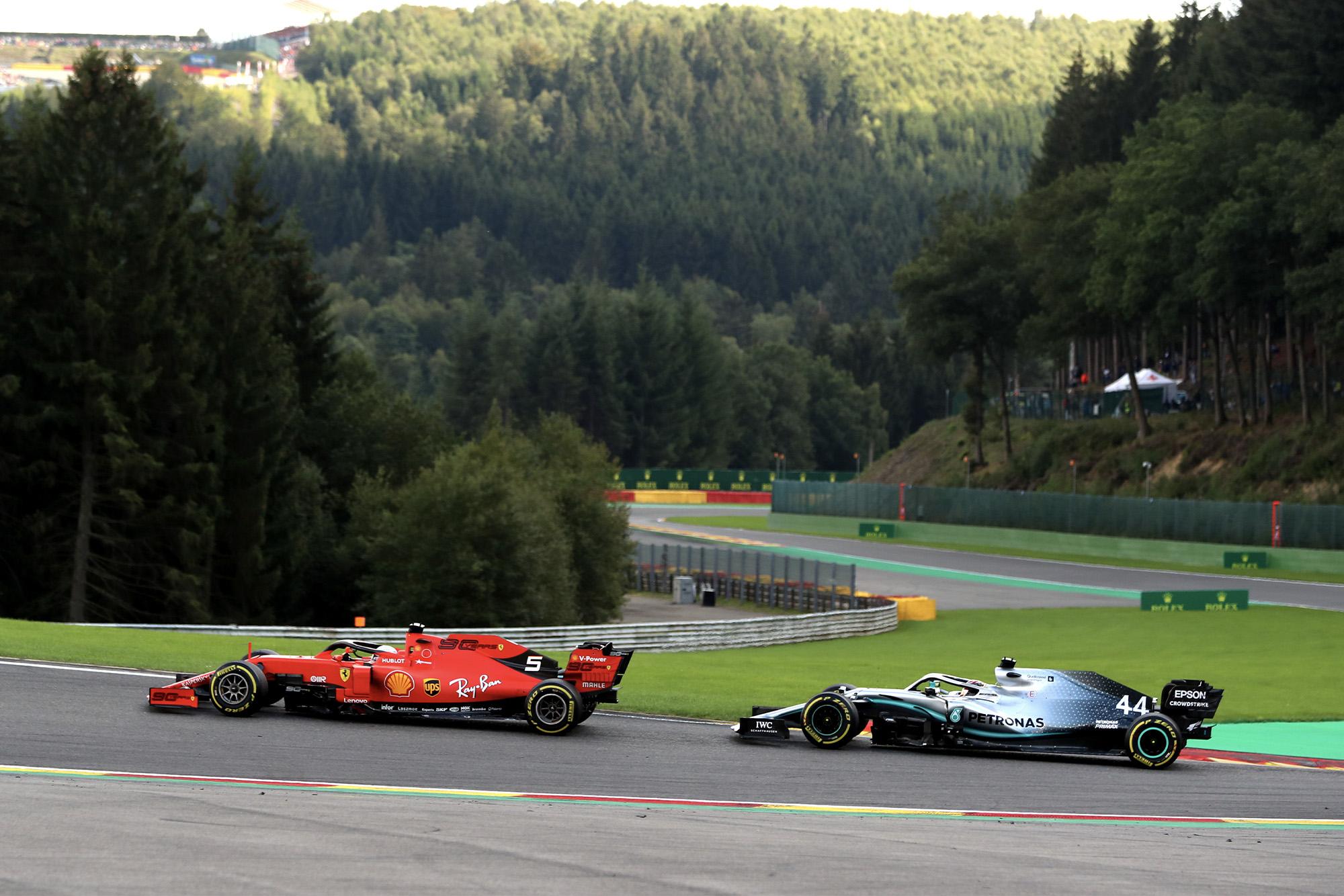 Sebastian Vettel and Lewis Hamilton during the 2019 Belgian Grand Prix