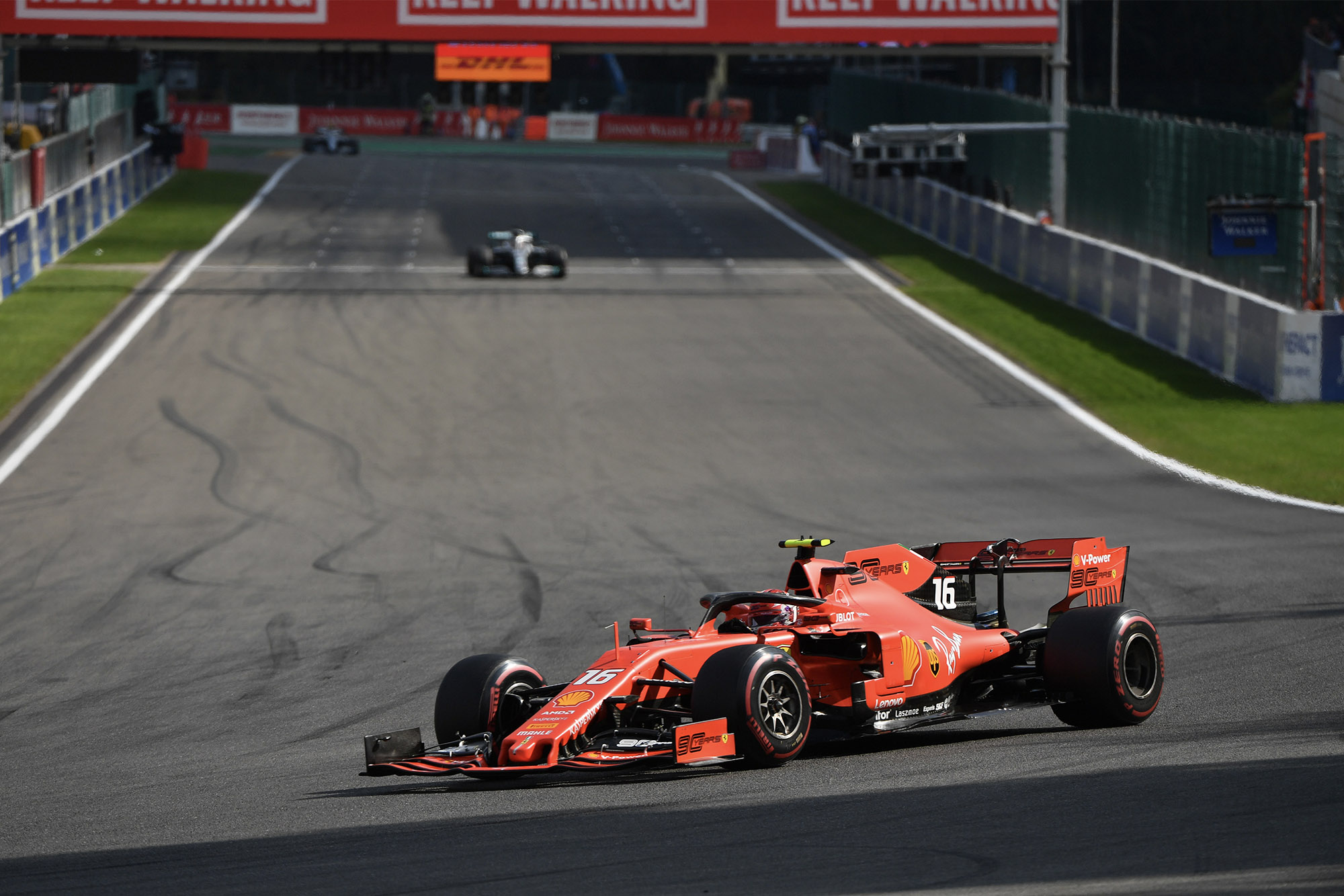 Charles Leclerc and Lewis Hamilton during the 2019 Belgian Grand Prix