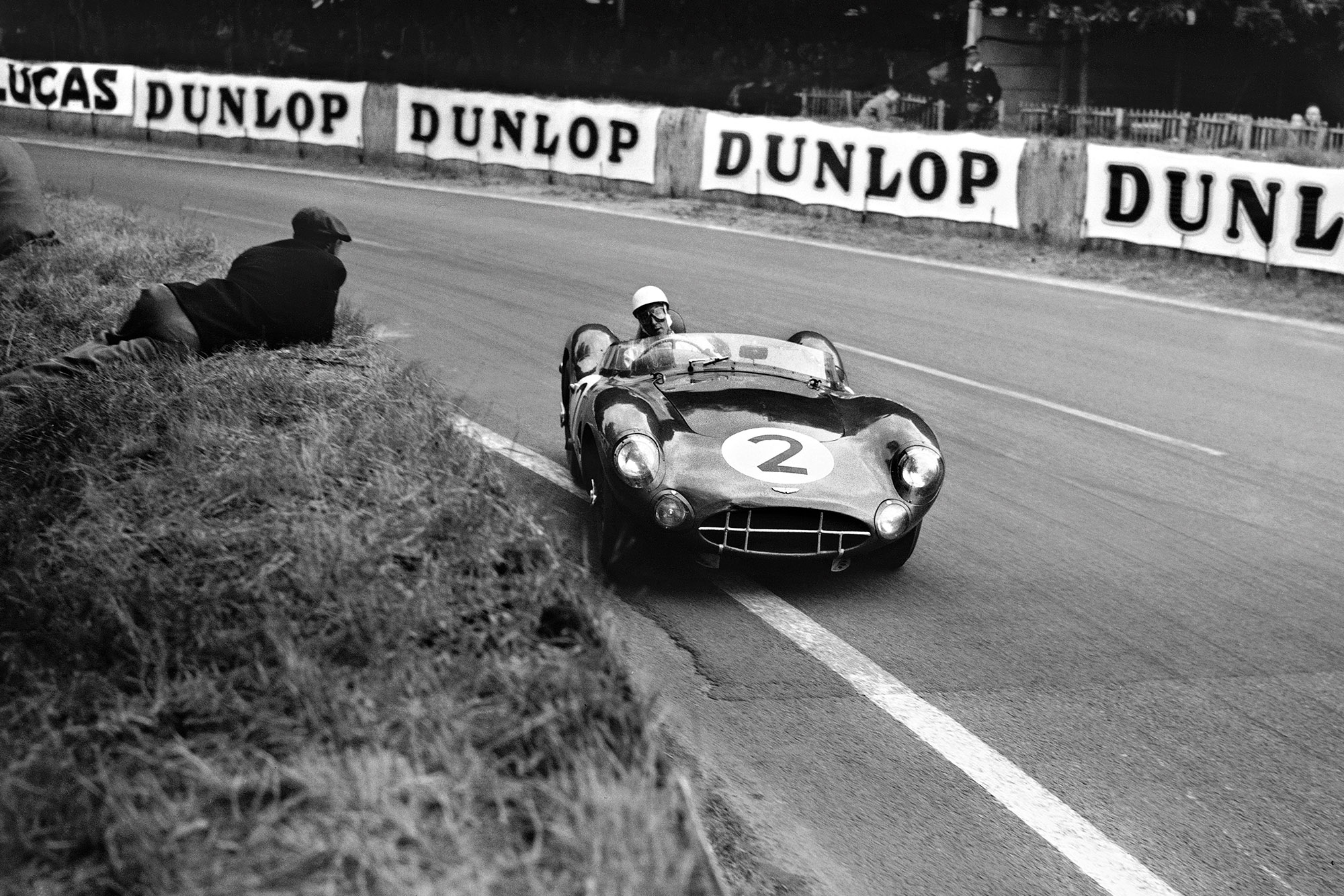 Stirling Moss in an Aston Martin DBR1 at Le Mans 1958
