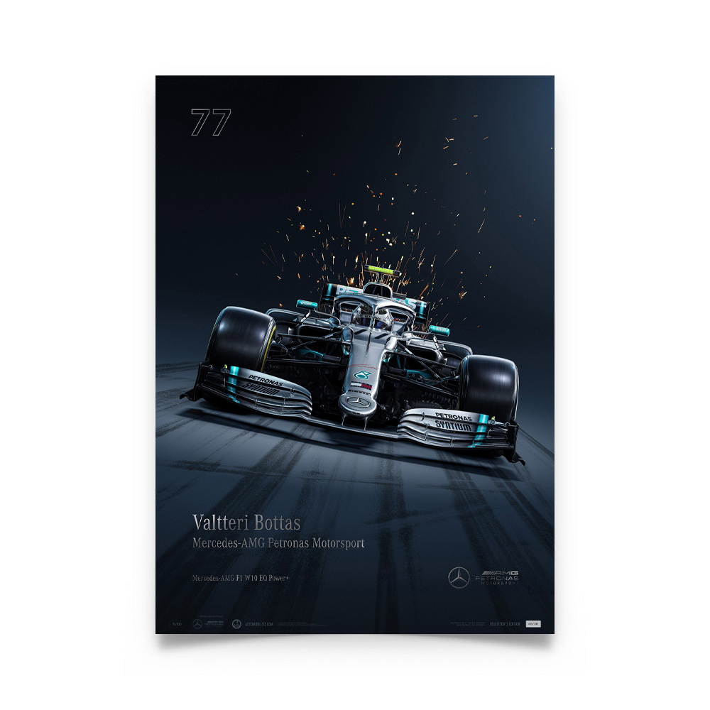 Product image for Valtteri Bottas - Mercedes W10 - 2019   Automobilist   Collector's Edition Poster