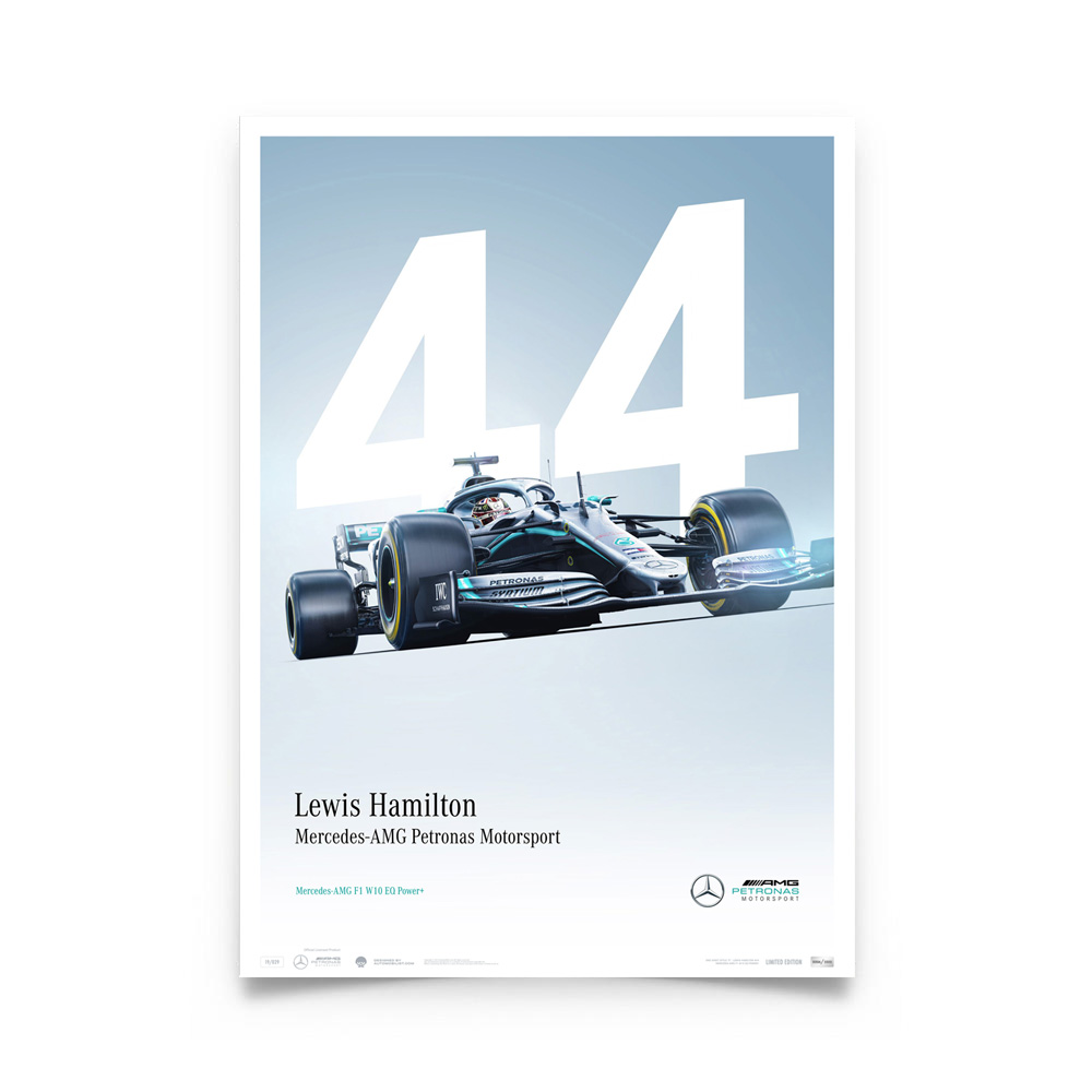 Product image for Lewis Hamilton - Mercedes W10 - 2019   Automobilist   Limited Edition poster