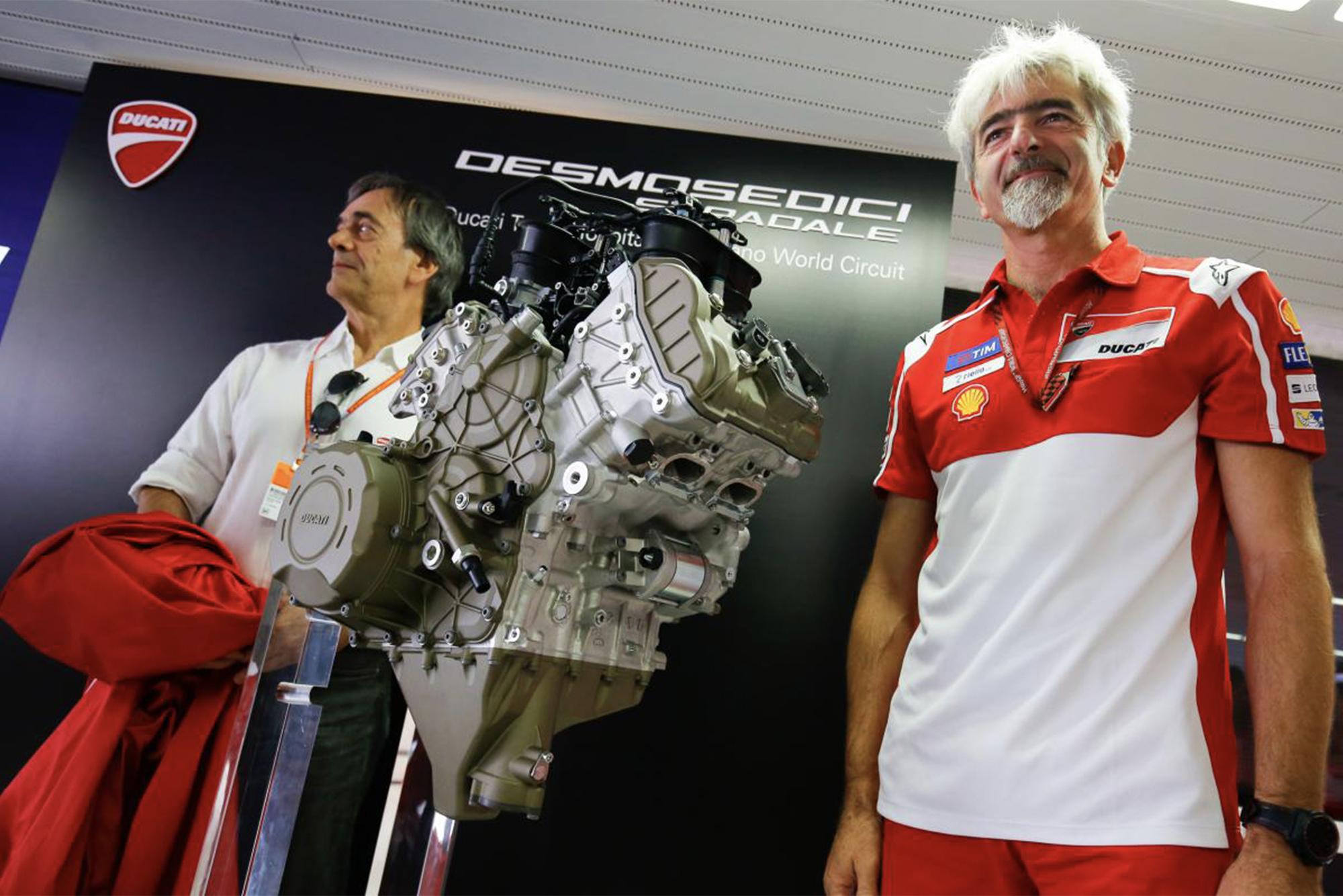 Gigi Dall'Igna with Ducati's V4 engine