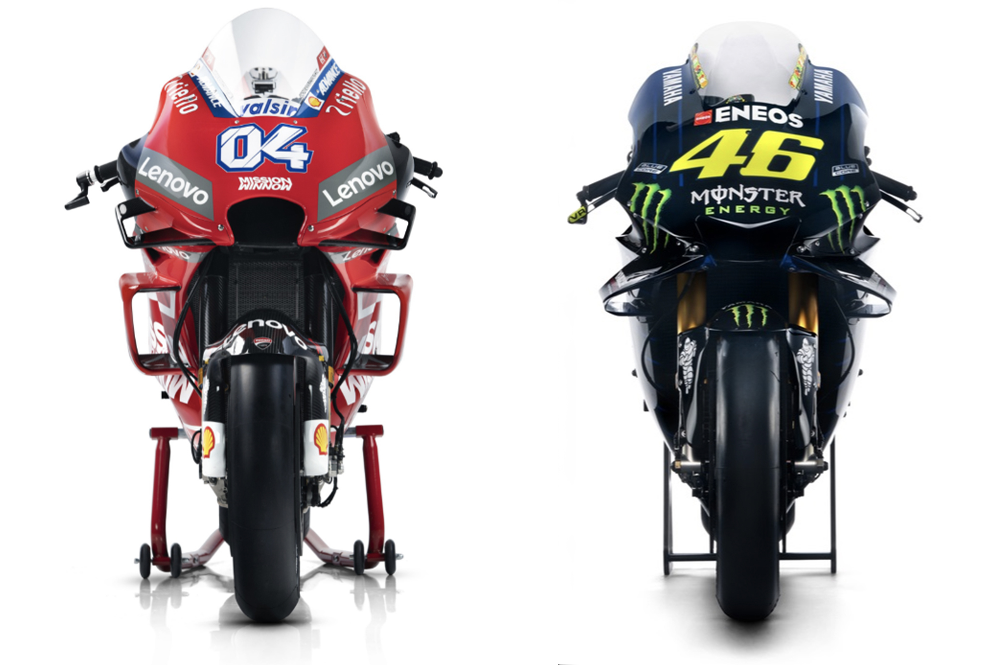 Ducati and Yamaha's 2019 MotoGP bikes side by side
