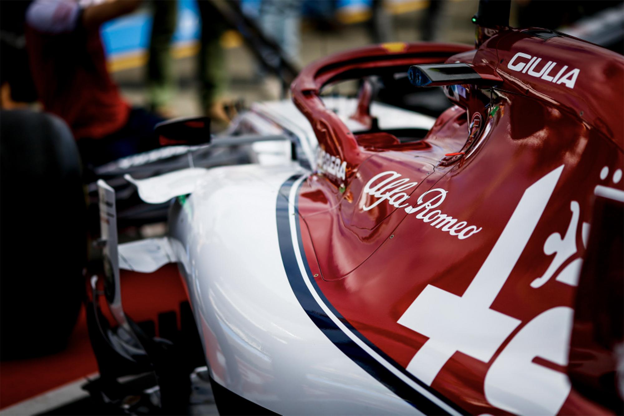 2019 Alfa Romeo F1 car in the pits