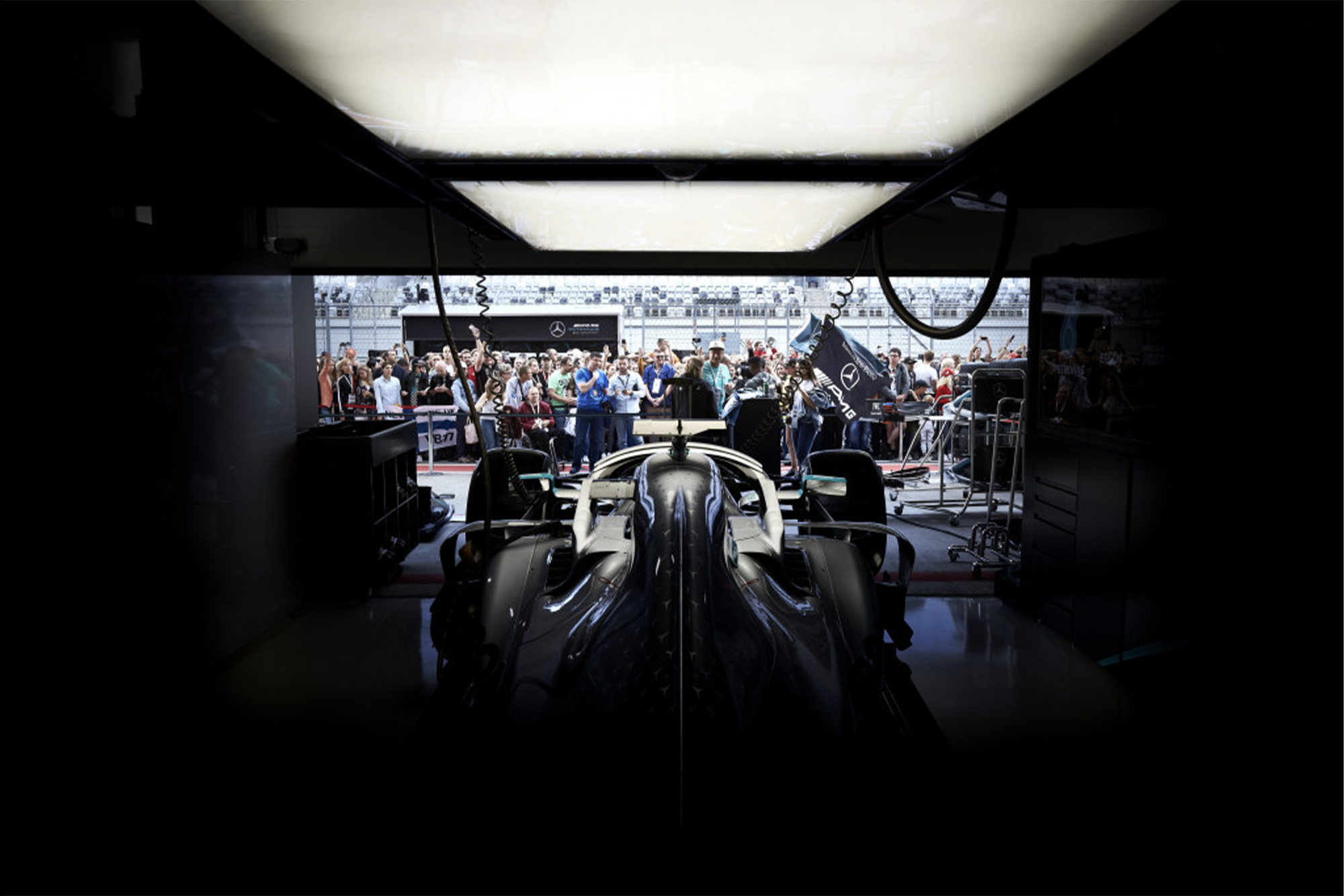 Mercedes garage during the 2019 season