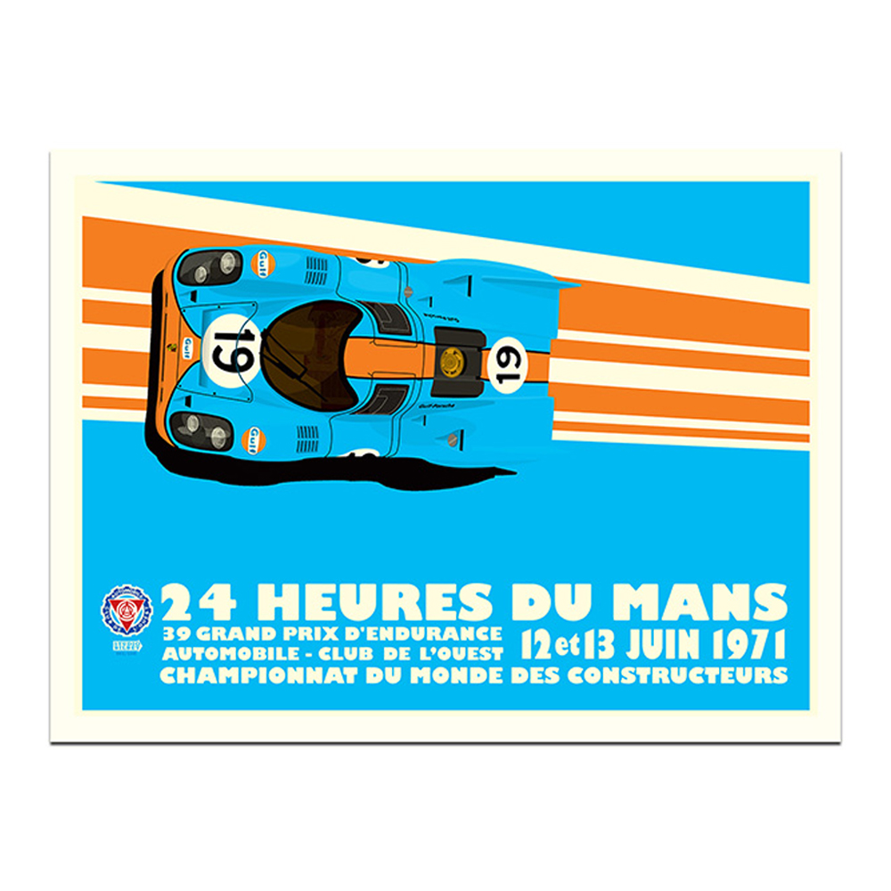 Product image for Gulf Porsche 917K - Le Mans - 1971 | Studio Bilbey | Limited Edition print