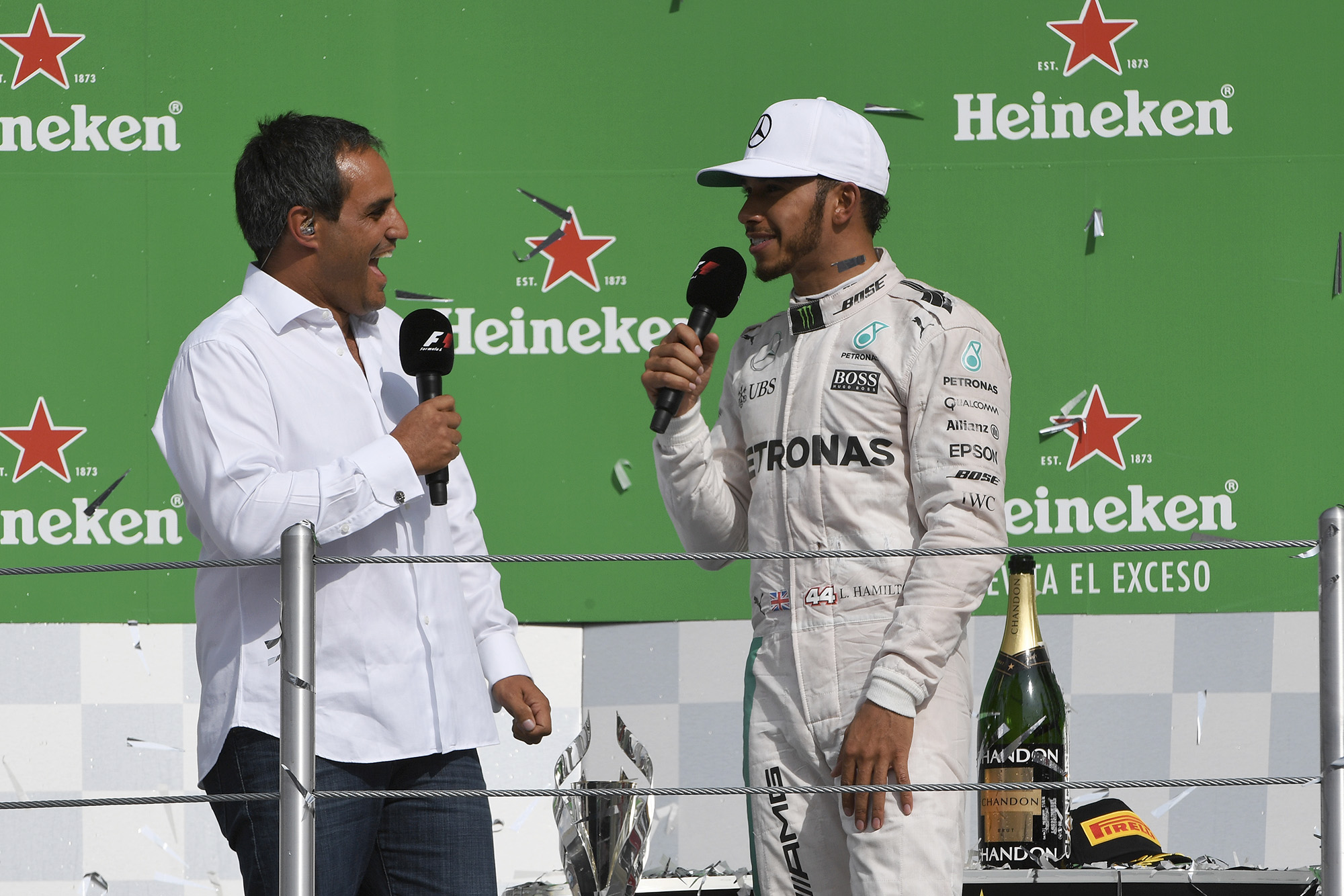 Juan Pablo Montoya with lewis Hamilton at the 2016 Mexican Grand Prix