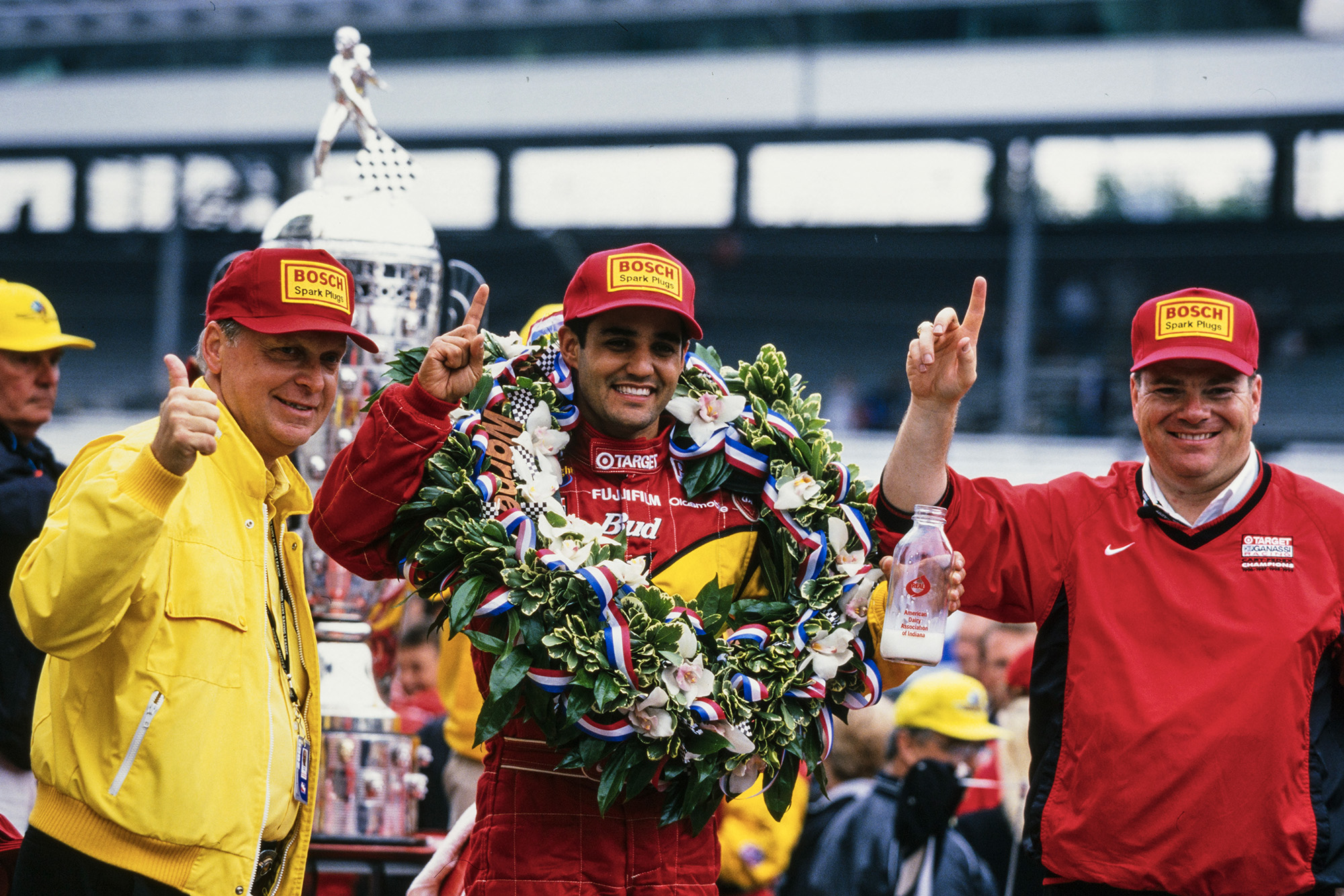 Juan Pablo Montoya celebrating victory in the 2000 Indy 500