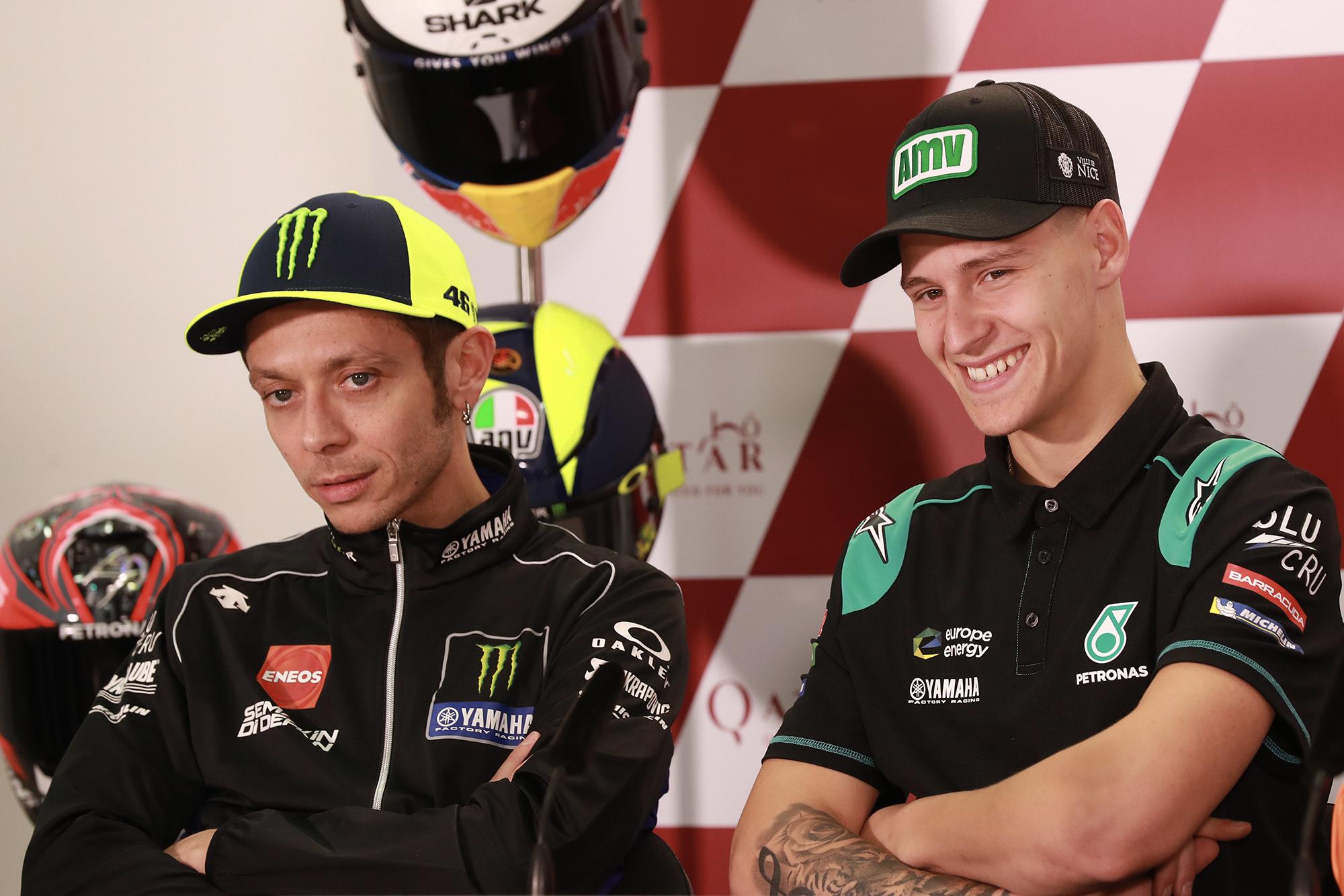 Valentino Rossi and Fabio Quartararo in a 2019 press conference