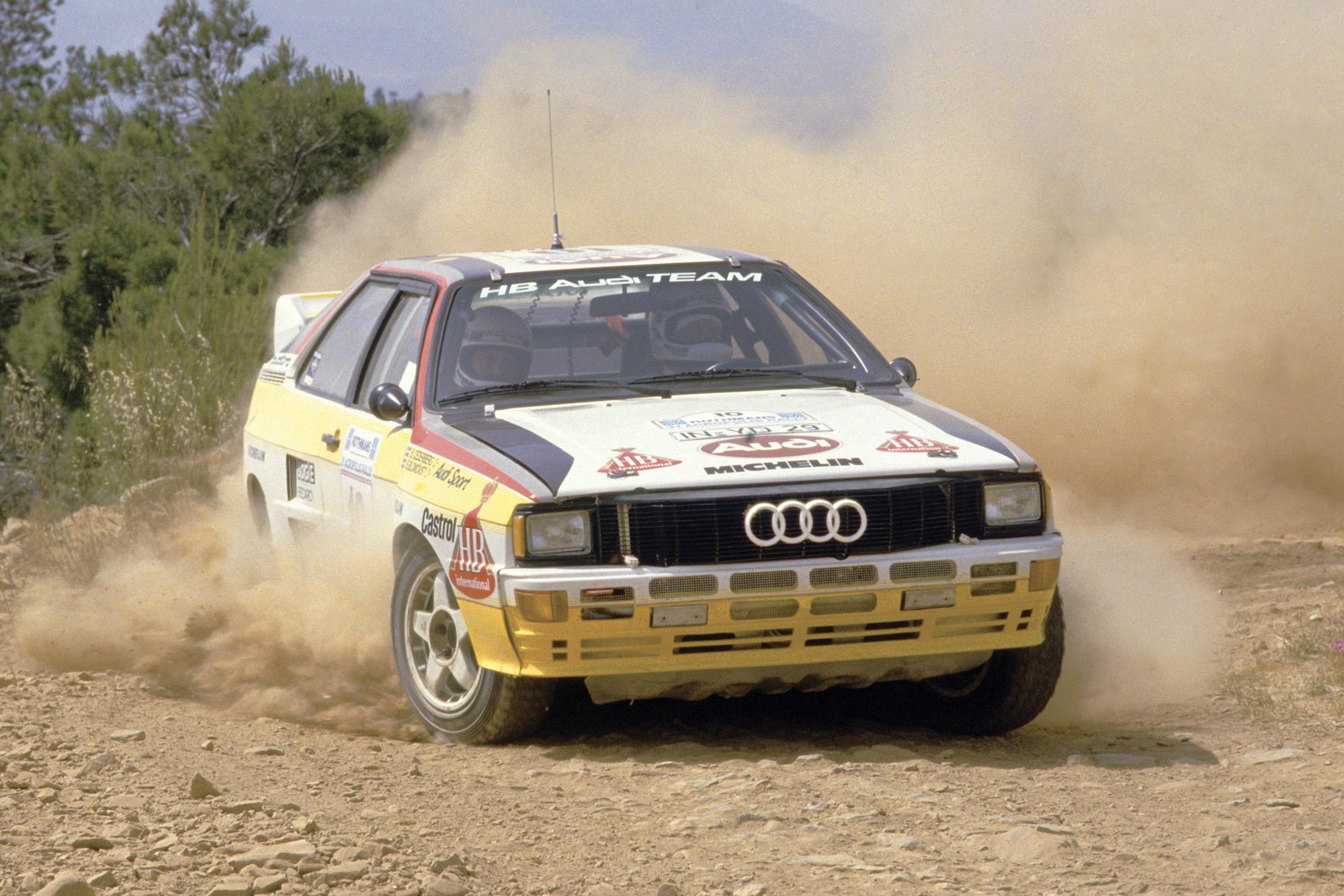 Audi Quattro A2 slides through the dust