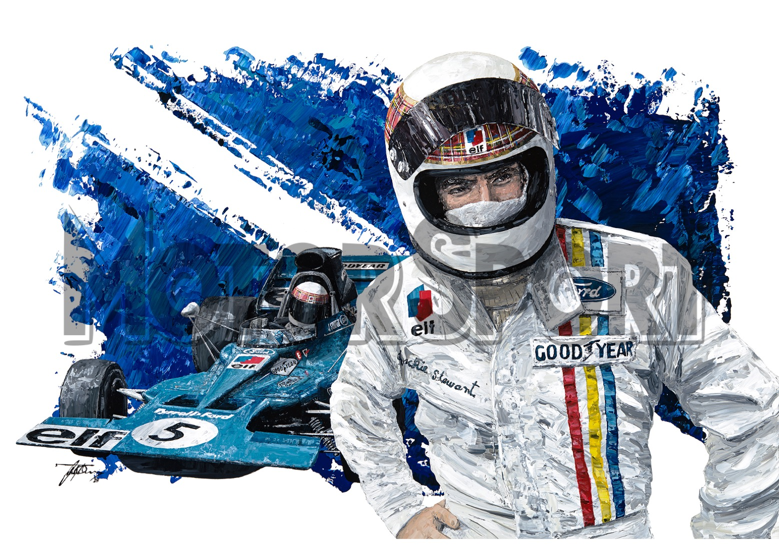 Product image for Jackie Stewart - Tyrrell - 1973 | David Johnson | Limited Edition print