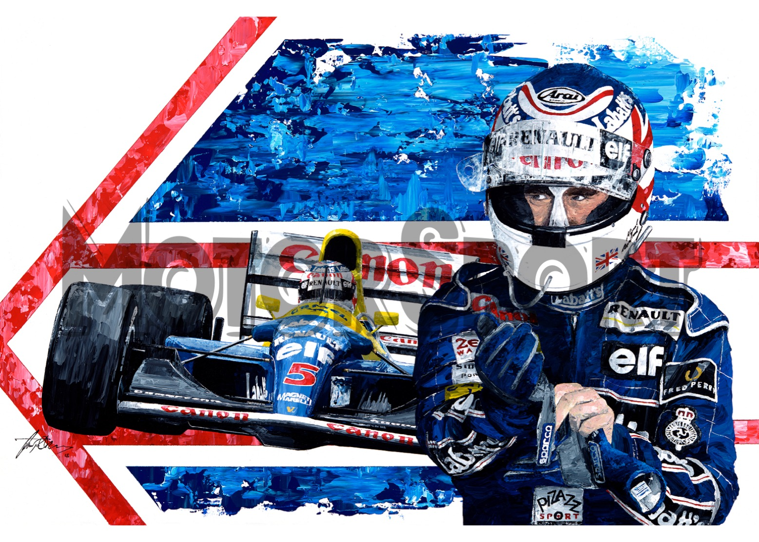 Product image for Nigel Mansell – Williams – 1992 | David Johnson | Limited Edition print