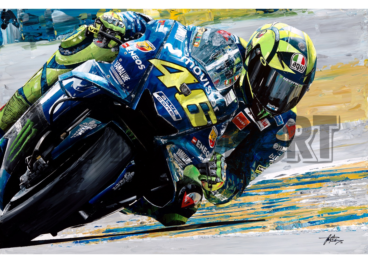 Product image for Valentino Rossi - Yamaha – 2018 | David Johnson | Limited Edition print