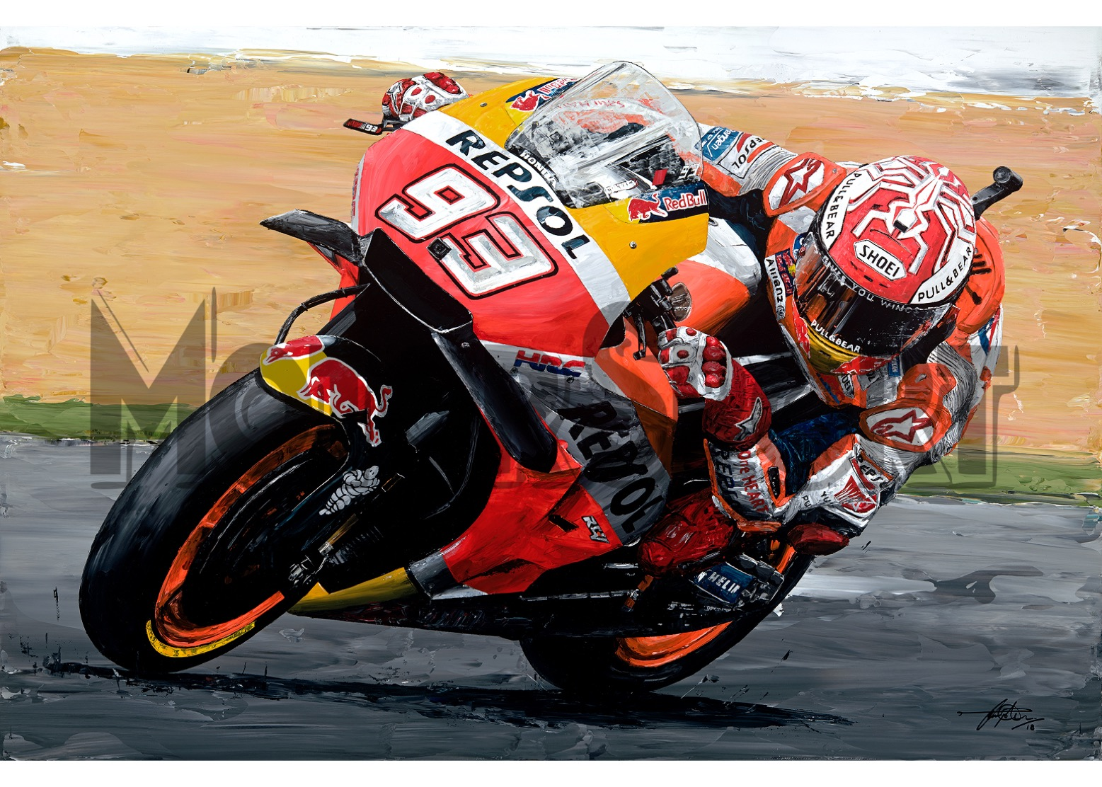 Product image for Marc Marquez – Honda – 2018 | David Johnson | Limited Edition print