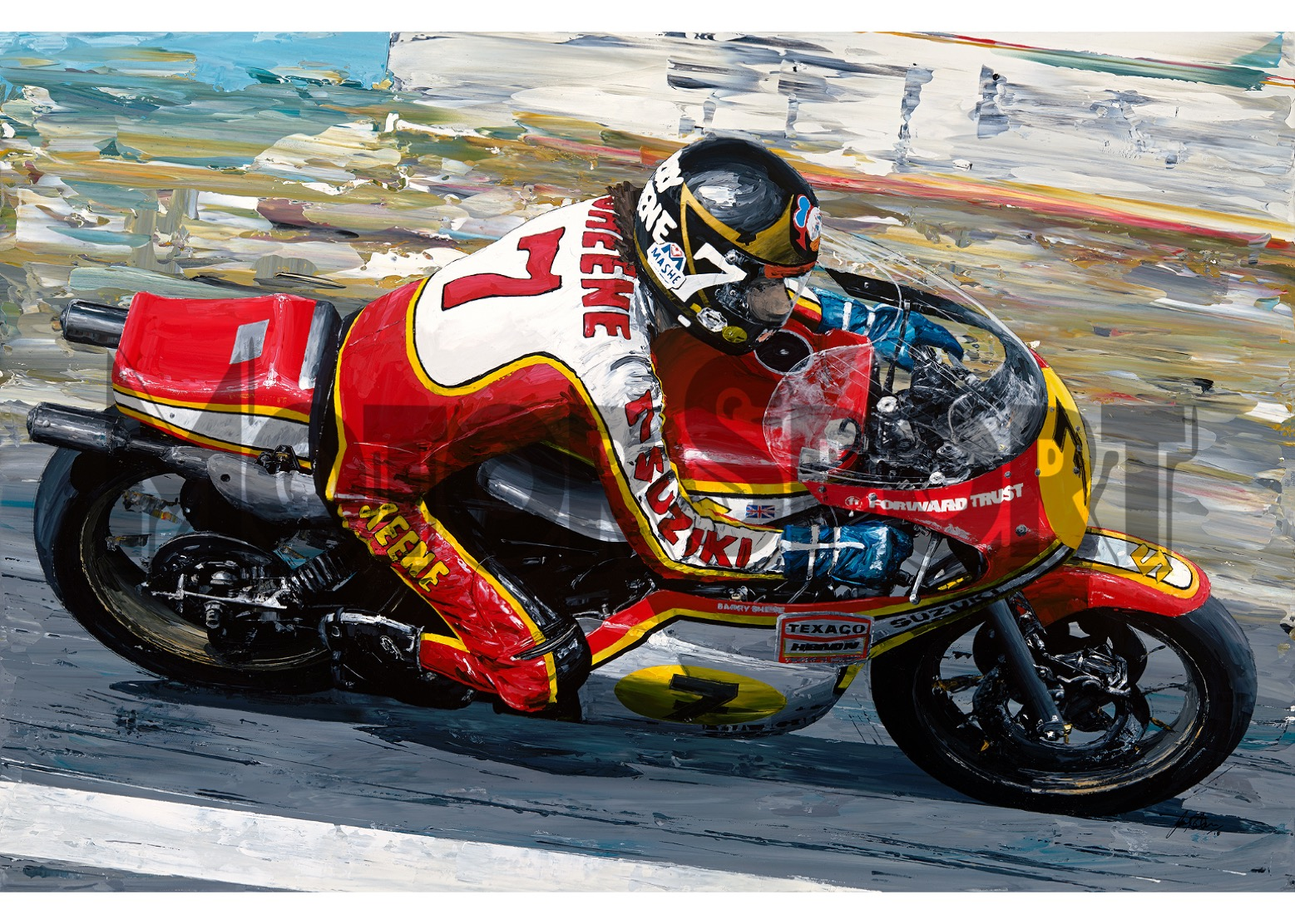 Product image for Barry Sheene - Suzuki – 1977 | David Johnson | Limited Edition print