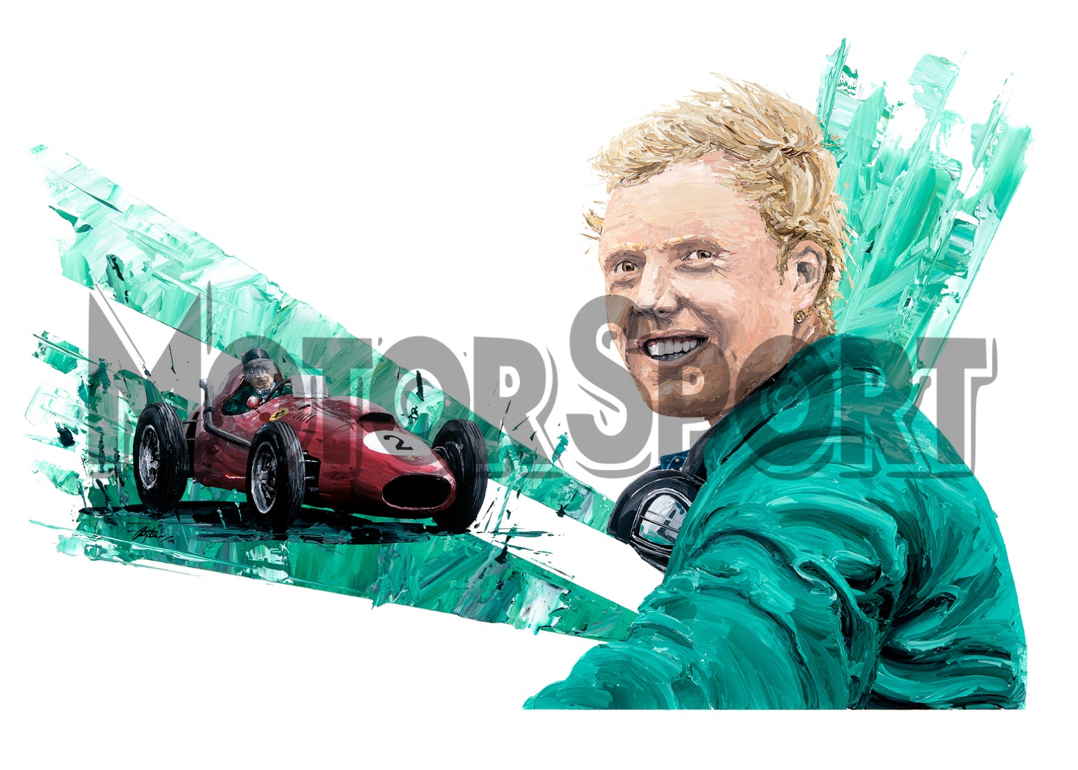 Product image for Mike Hawthorn – Ferrari – 1958 | David Johnson | Limited Edition print