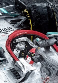 Product image for Lewis Hamilton - Mercedes - 2019   David Johnson   Limited Edition print