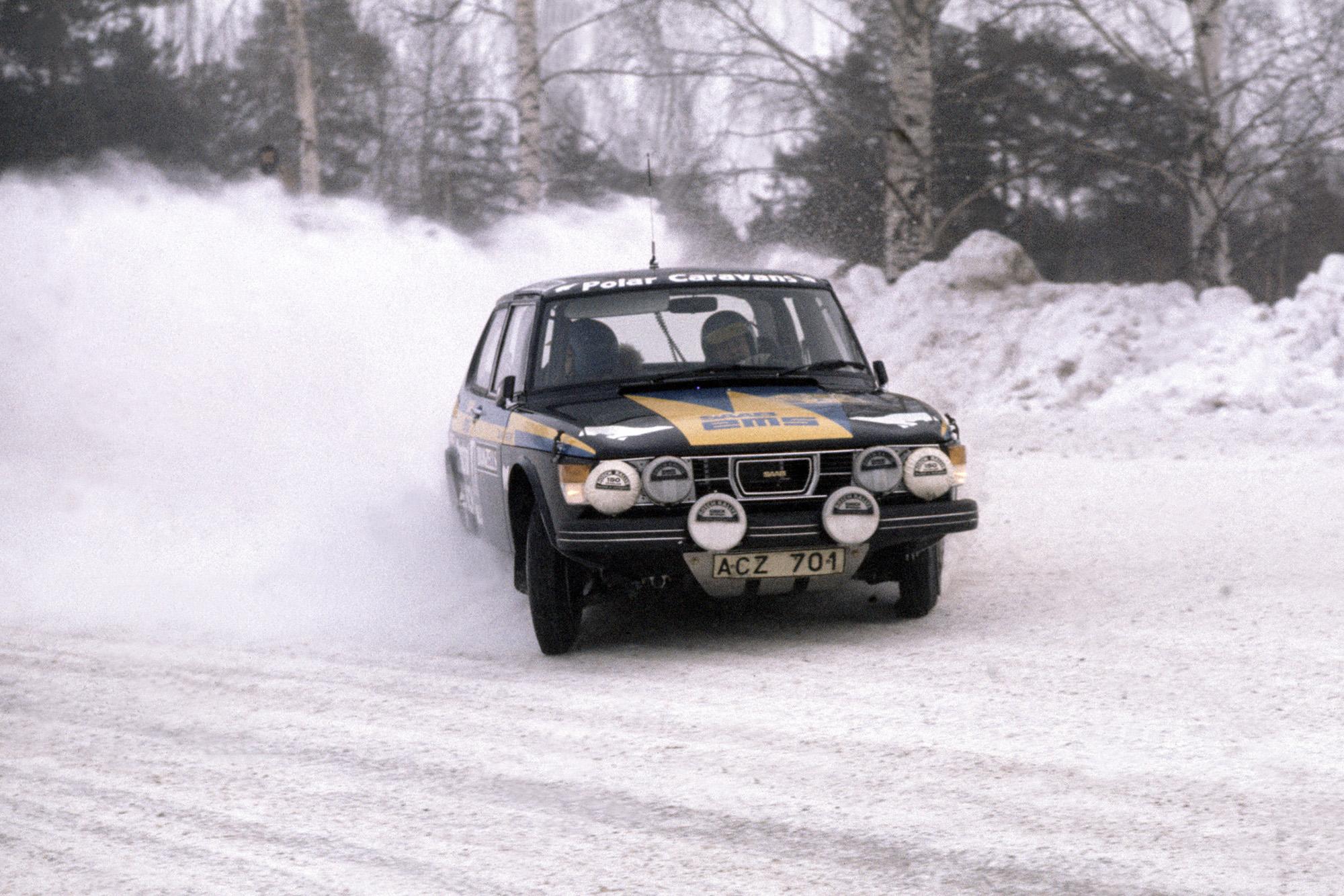 Stig Blomqvist in a Saab 99 during the 1977 Swedish Rally