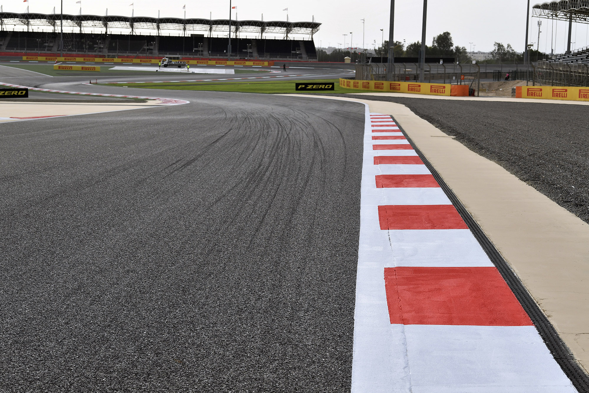 Empty track and stands at the Bahrain International Circuit in Sakhir
