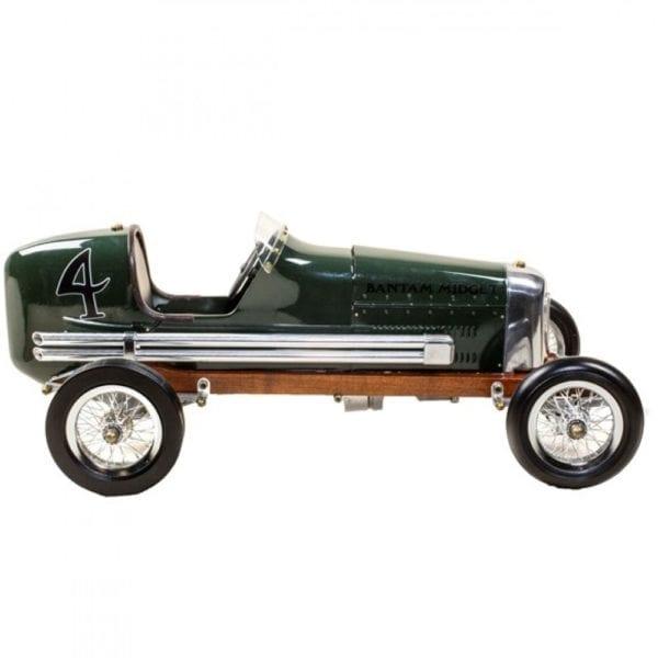 A dark green bantam midget car model