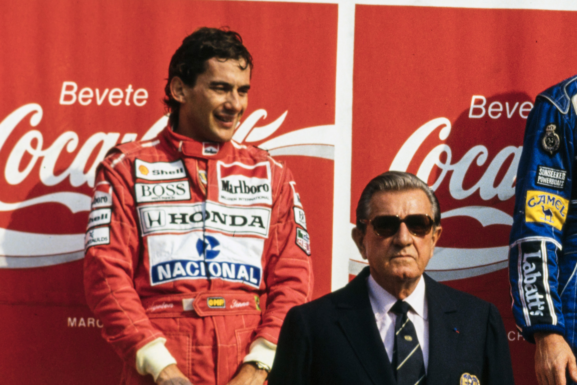 Ayrton Senna on the podium next to Jean Marie Balestre at the 1991 Italian Grand Prix