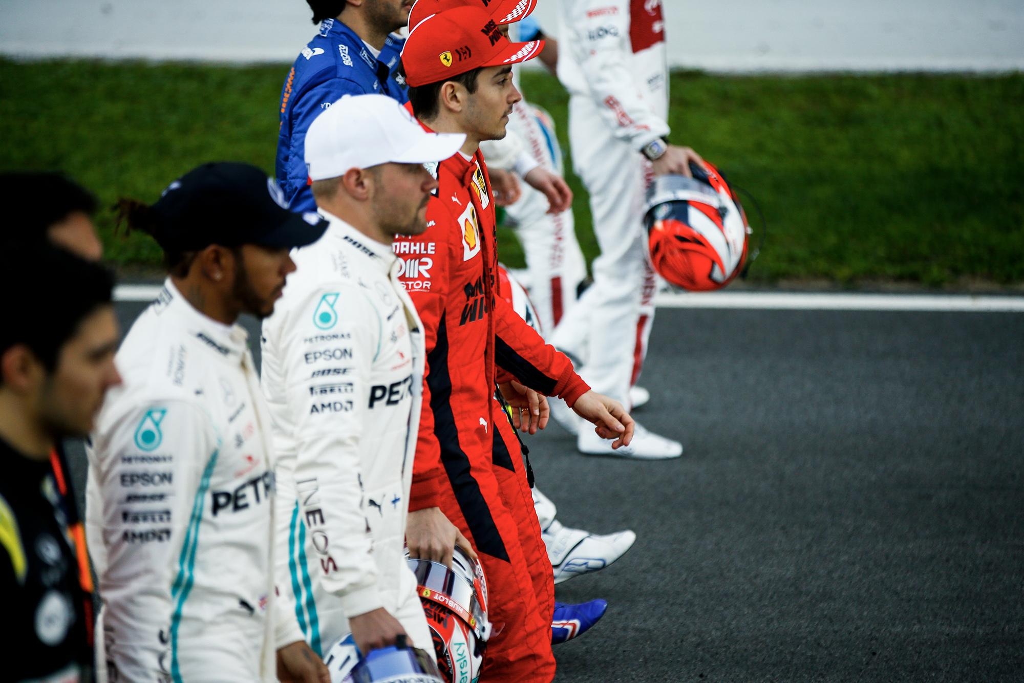 2020 F1 Barcelona pre-season test Day 1 drivers in a line