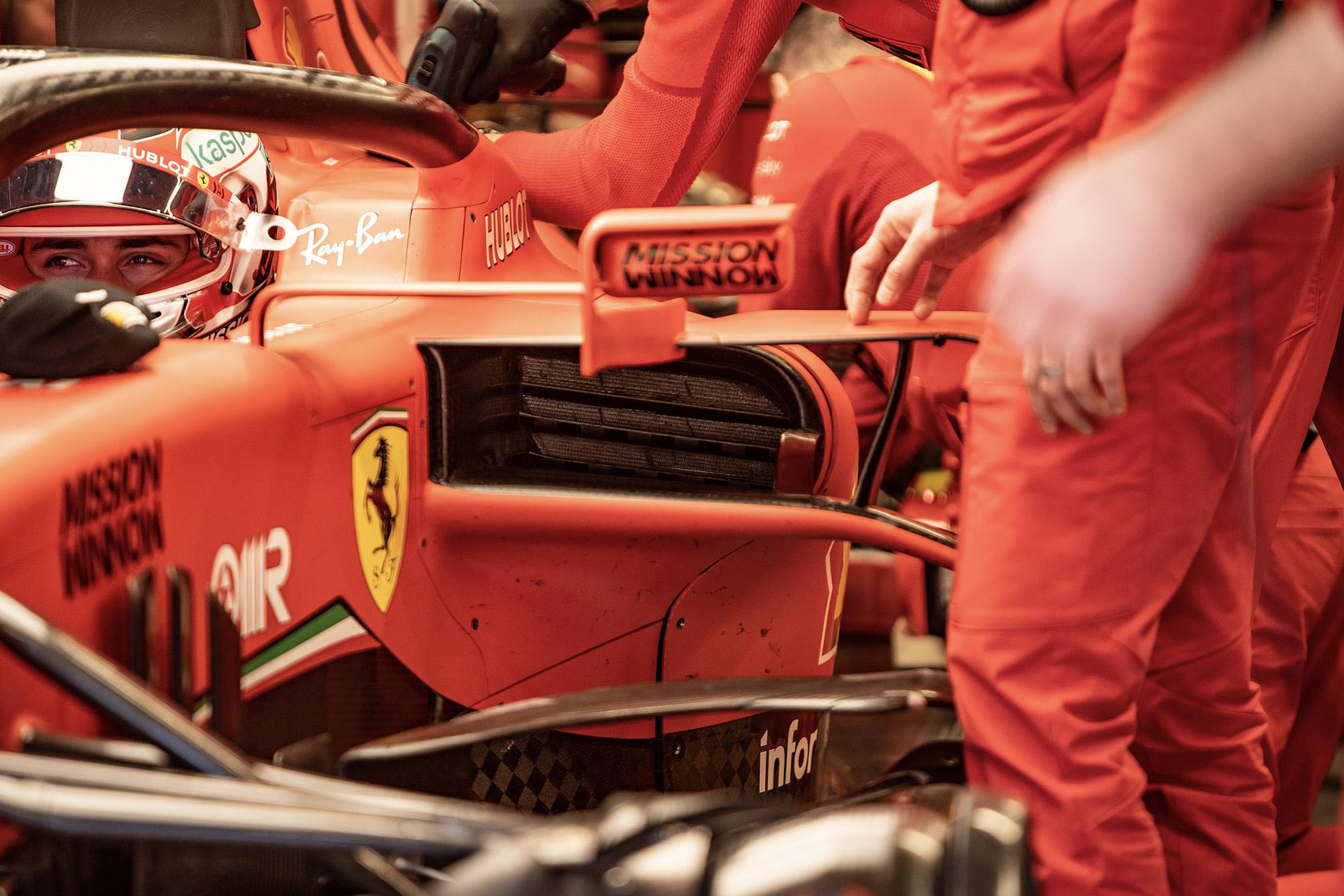 Ferrari sidepod during 2020 f1 preseason testing