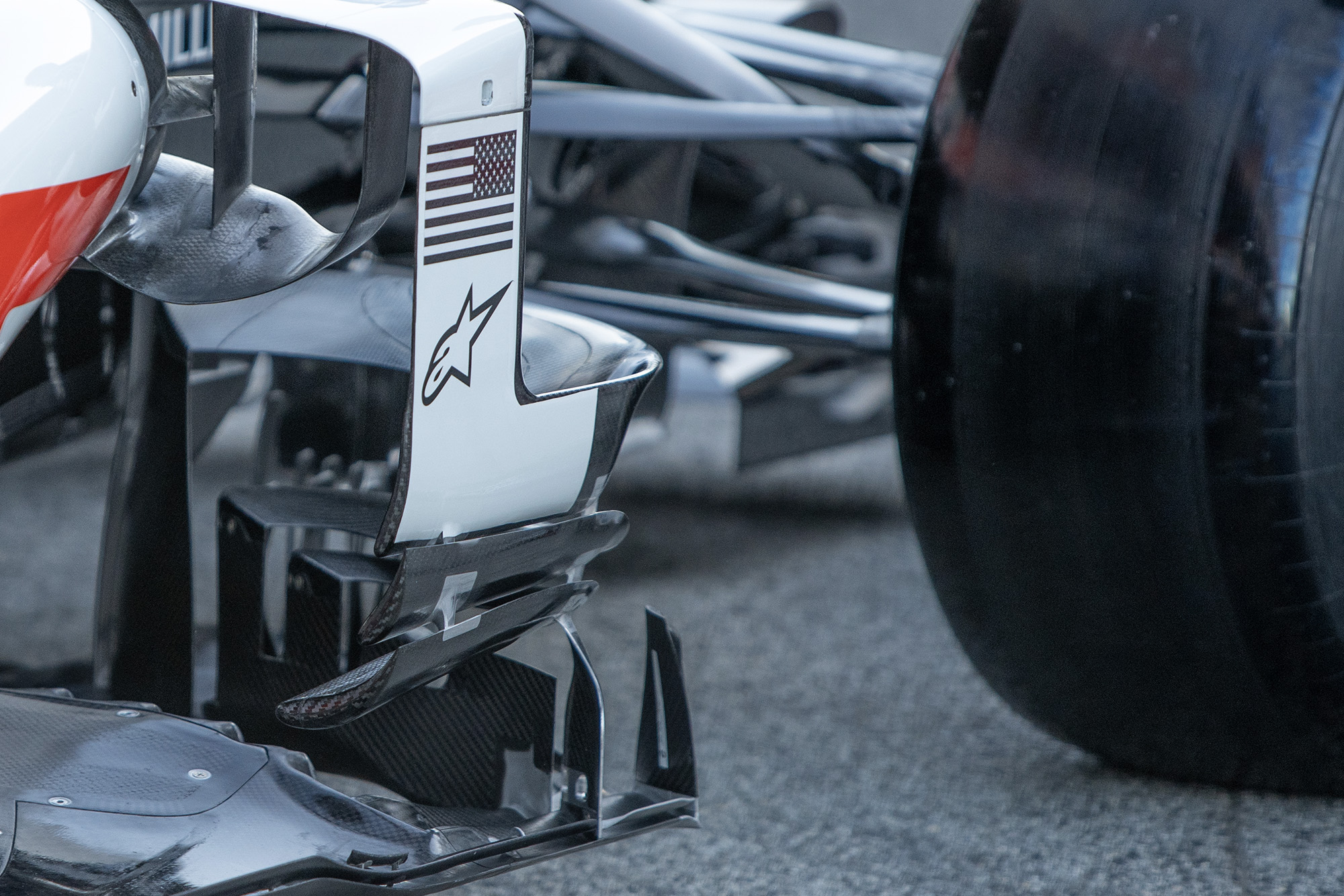 Haas bargeboards in front of the side inlet in 2020 f1 preseason testing