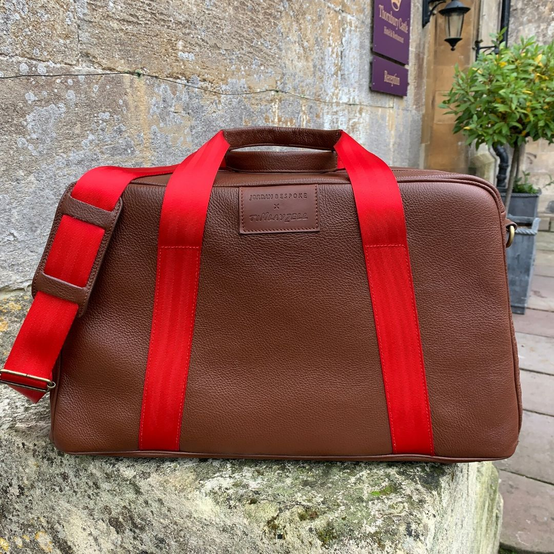 Product image for 'Leather Art' Duffle Bag | Brown | Fangio vs Collins - 1950 | Jordan Bespoke