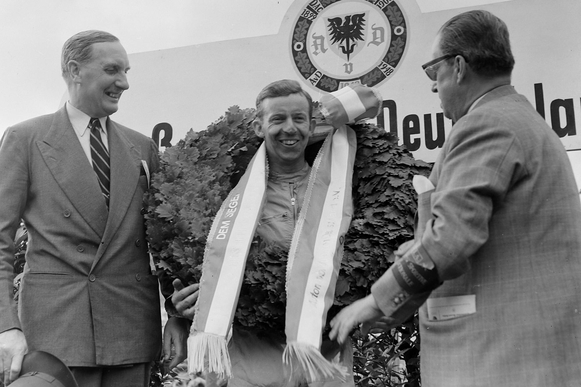 Tony Brooks celebrates winning the 1958 German Grand Prix