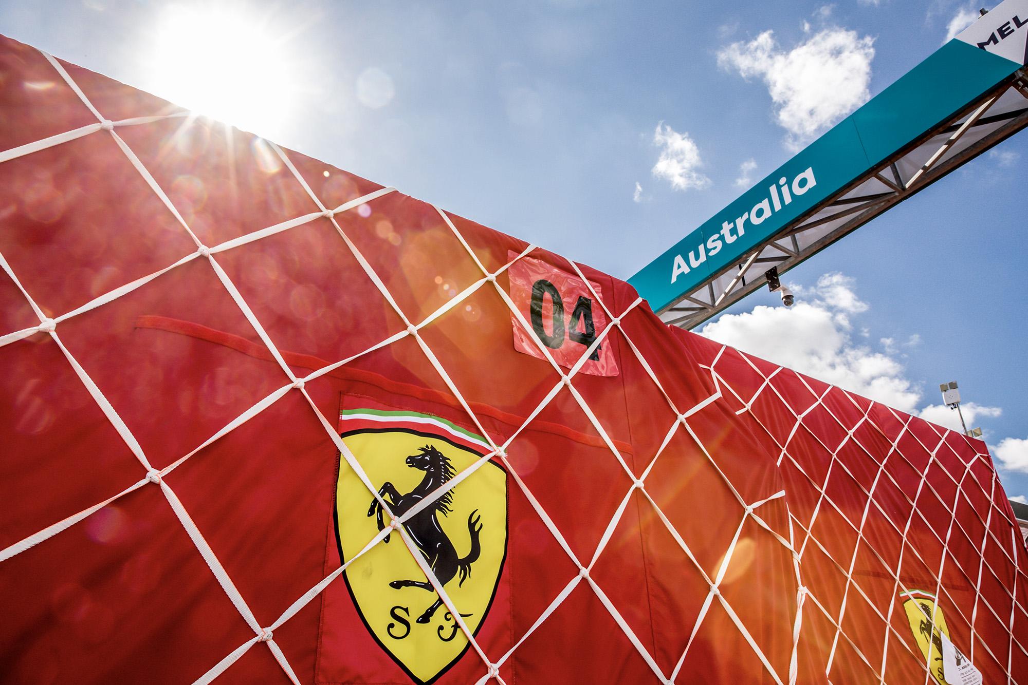 Ferrari equipment at Melbourne for the 2020 Australian Grand Prix