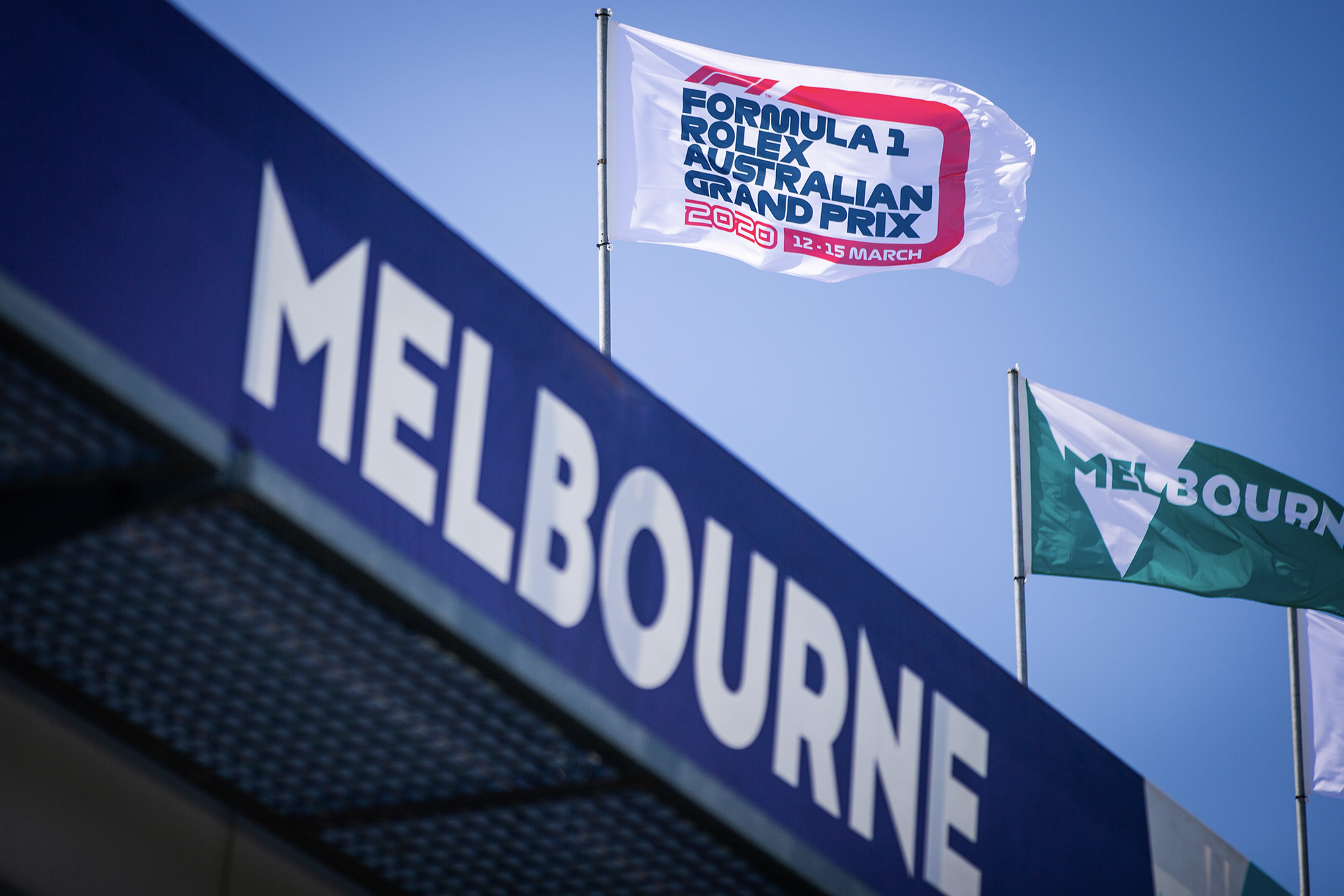 Flags above a Melbourne grandstand ahead of the 2020 Australian Grand Prix