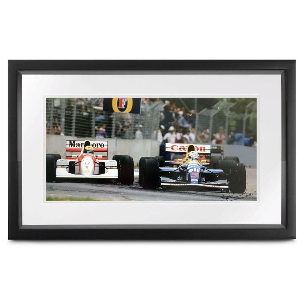 Product image for Senna vs Mansell | John Townsend | print | signed Nigel Mansell