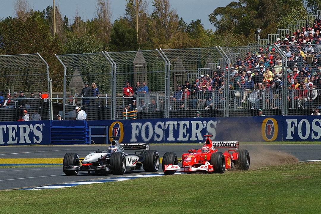 2003 Australian Grand Prix Chumacher and Raikkonen clash