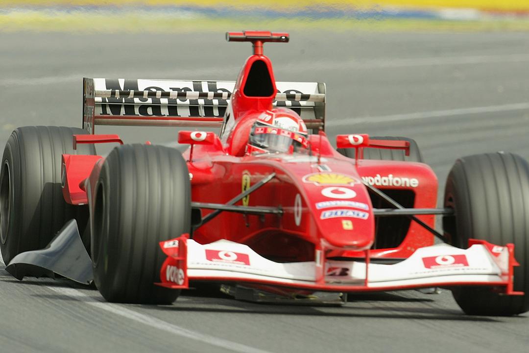 2003 Australian Grand Prix Schumacher with broken barge board