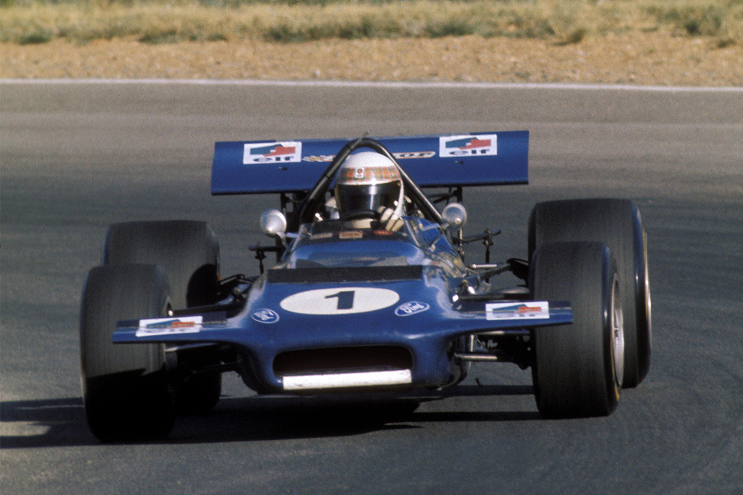 Jackie Stewart at the 1970 South African Grand Prix in a March 701