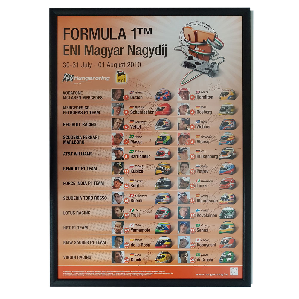 Product image for F1   Hungarian Grand Prix - 2010 - Budapest   original poster   signed 23/24 2010 grid