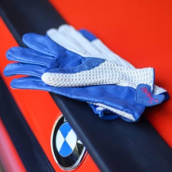 SUIXTIL GRAND PRIX DRIVING GLOVES IN BLUE LEATHER