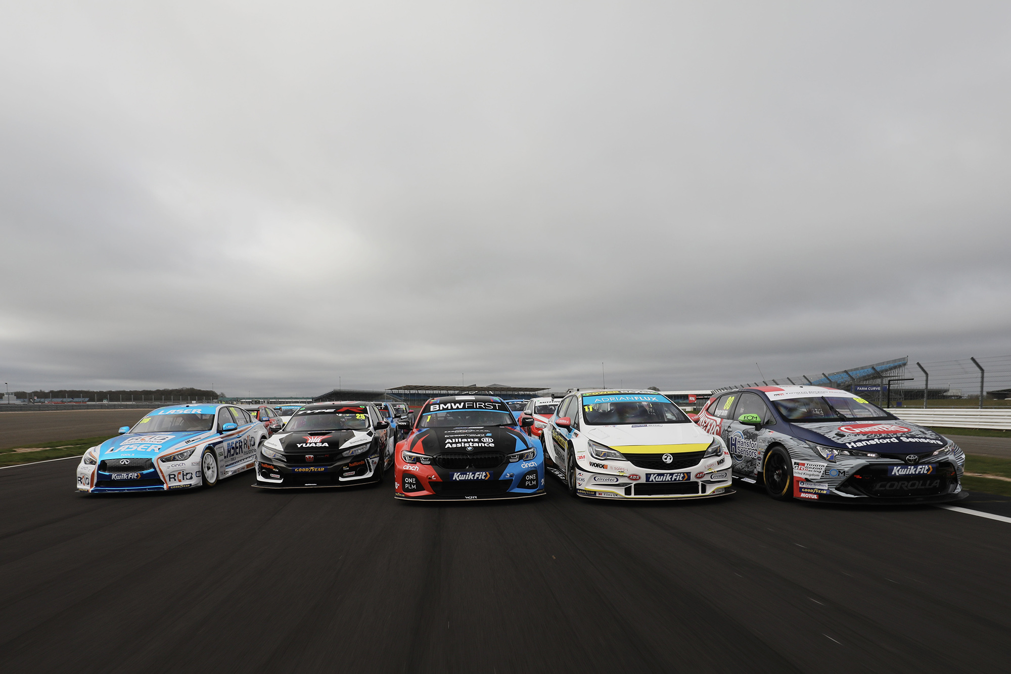 BTCC 2020 media day cars in a pack