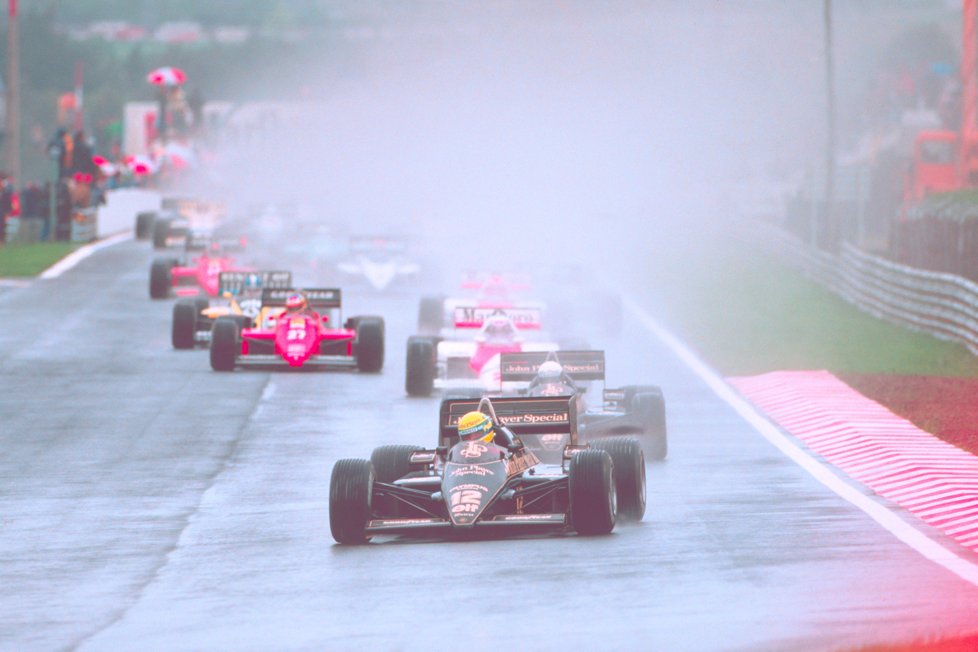 Ayrton Senna leading the 1985 Portuguese GP