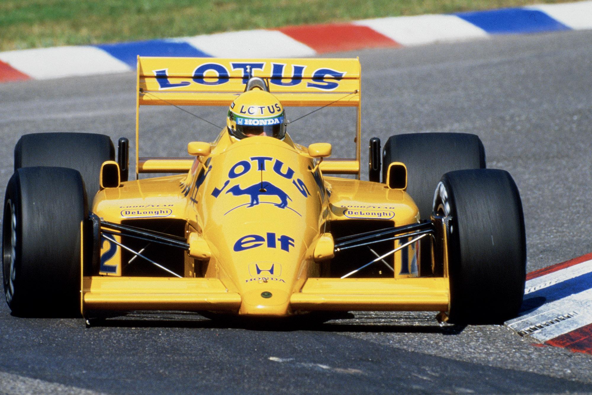 Ayrton Senna in the 1987 Lotus Honda during the German Grand Prix at Hockenheim